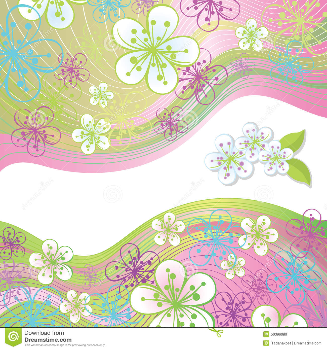 Spring Flowers And Line Design Template Top Border Illustration
