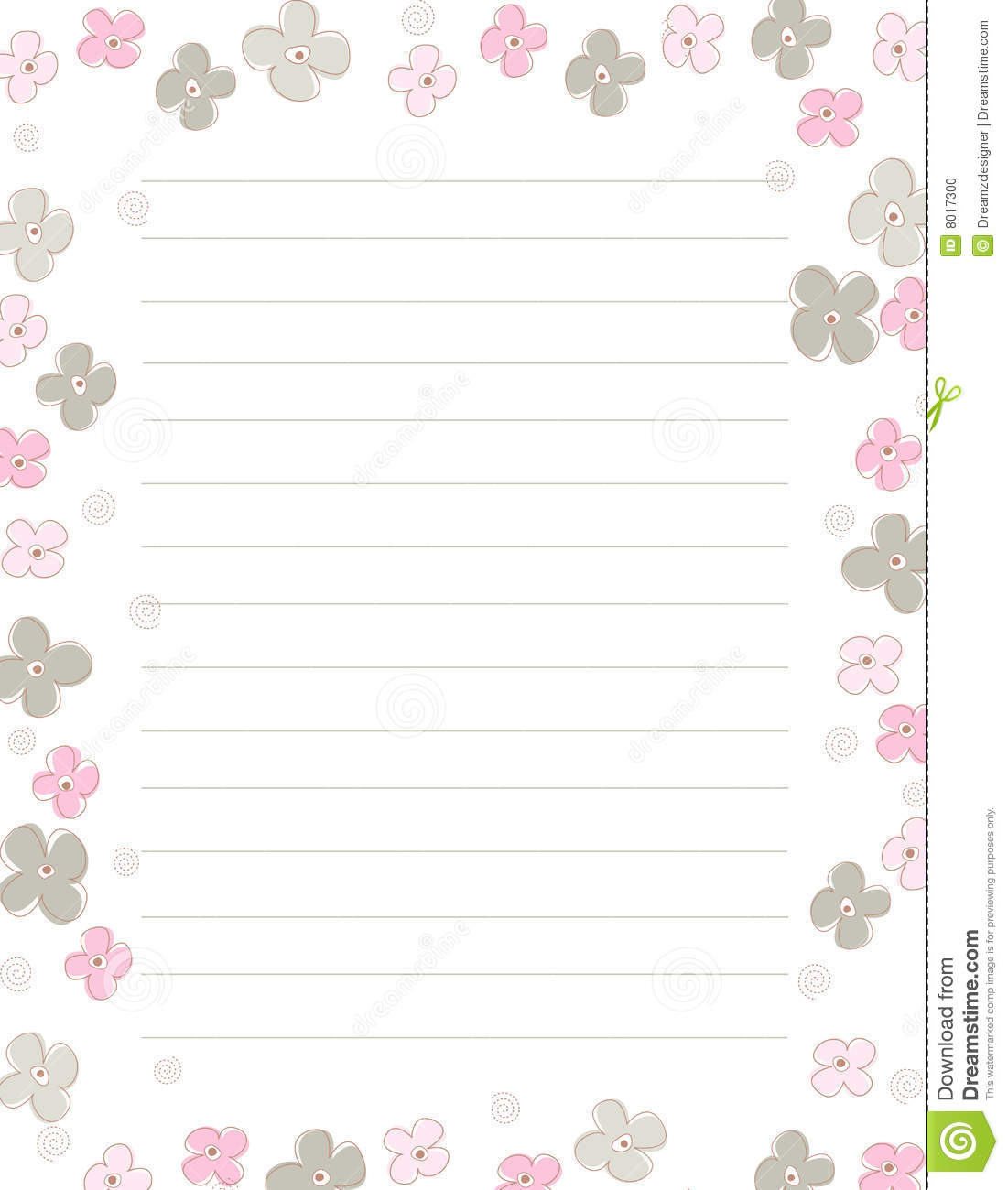 spring flowers note paper stock illustration. illustration of cute