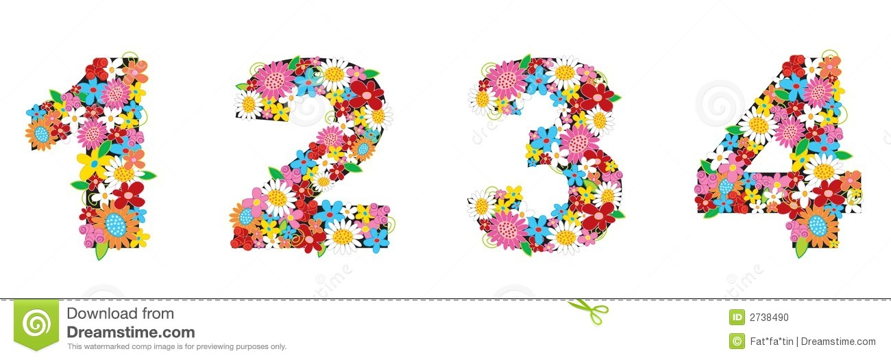 1234 Images spring flowers numbers 1234 stock vector - illustration of numbers