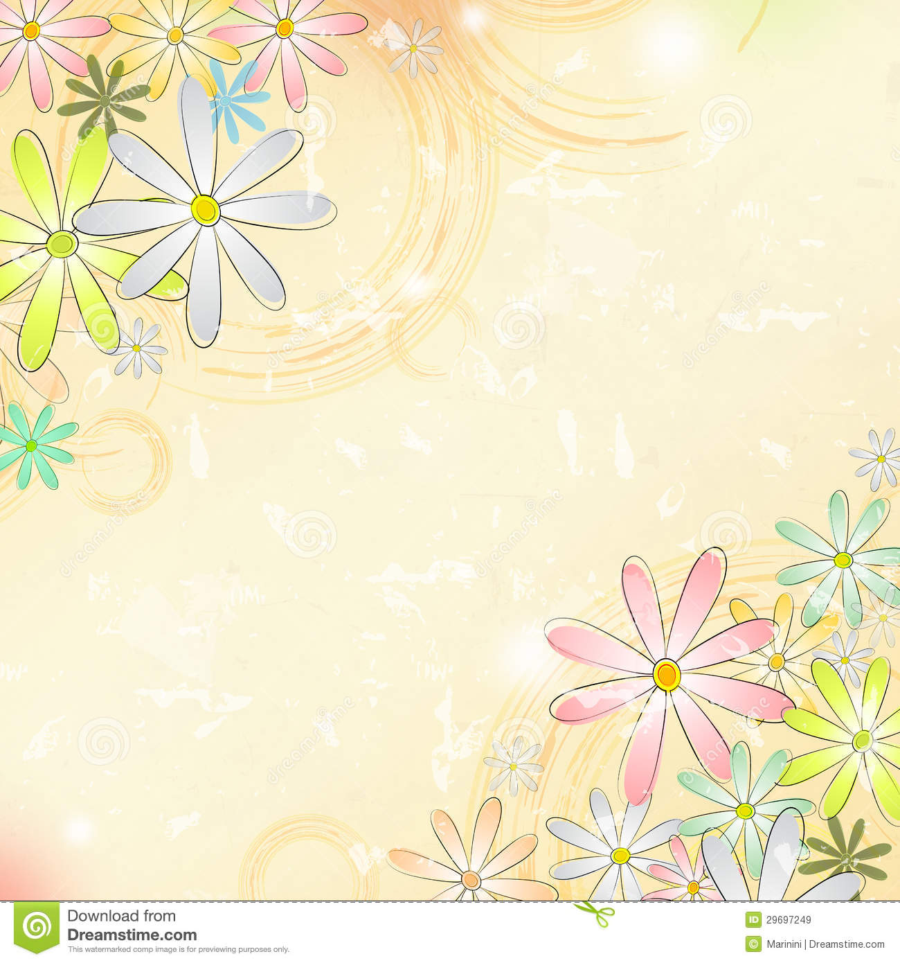 Spring Flowers Over Beige Old Paper Background With