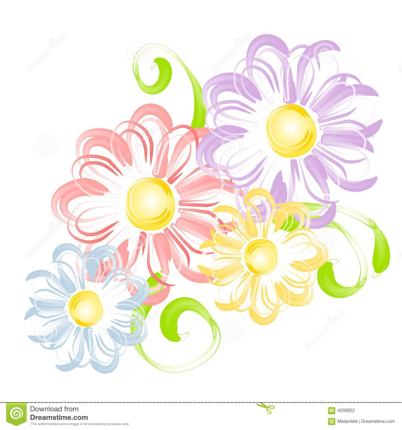 Spring Flowers In Pen Brush Clip Art Stock Photography - Image ...