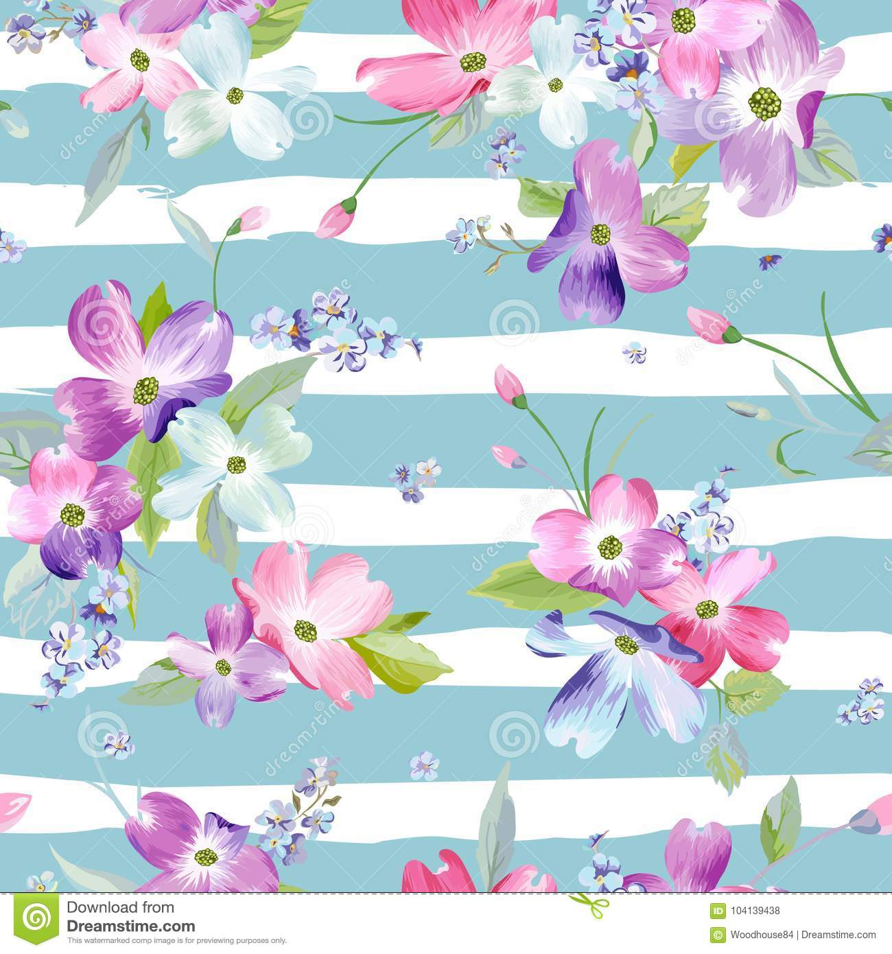 Spring Flowers Seamless Pattern. Watercolor Floral Background for Wedding Invitation, Fabric, Wallpaper, Print