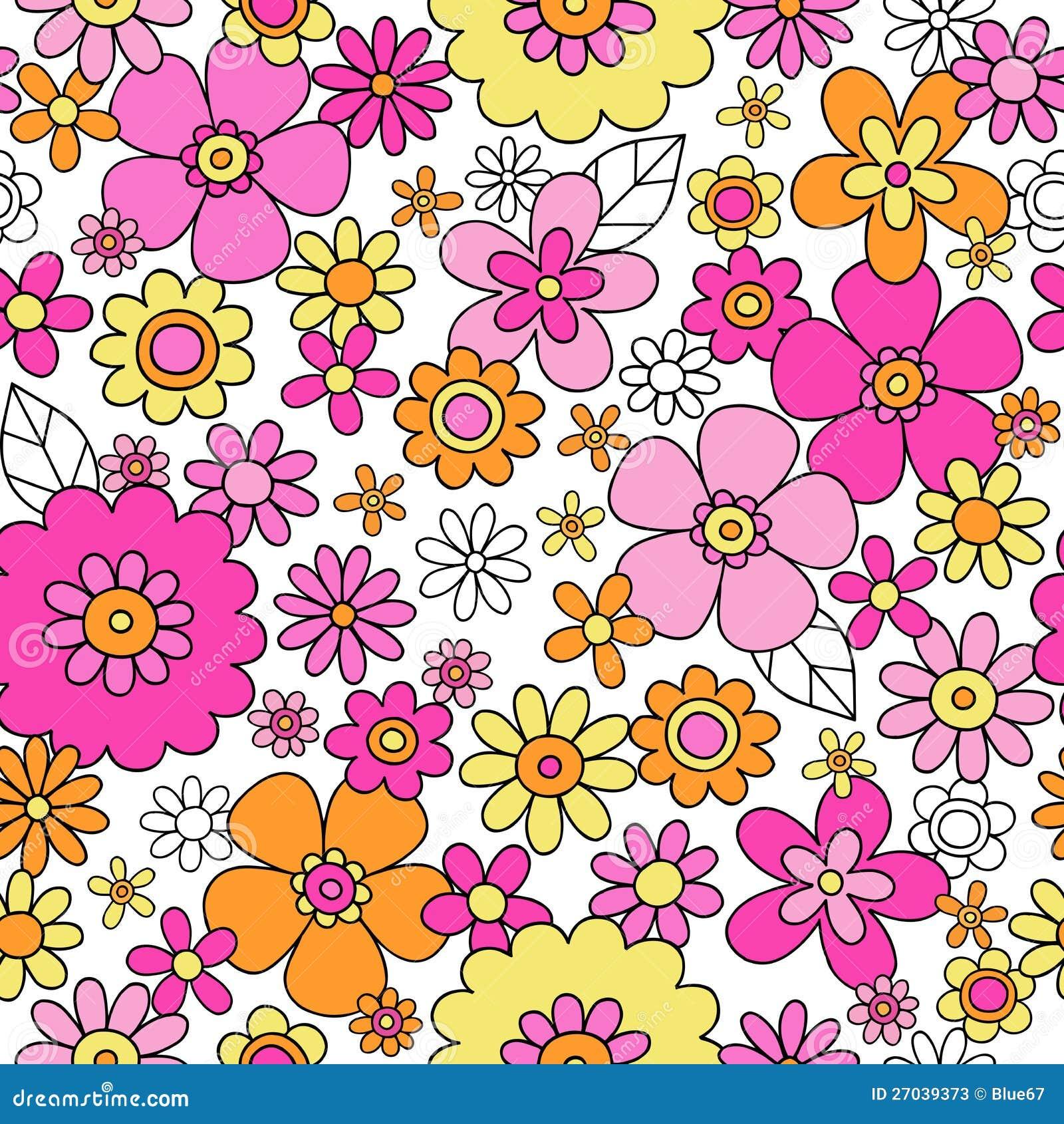 Spring Flowers Seamless Repeat Pattern Vector Illu