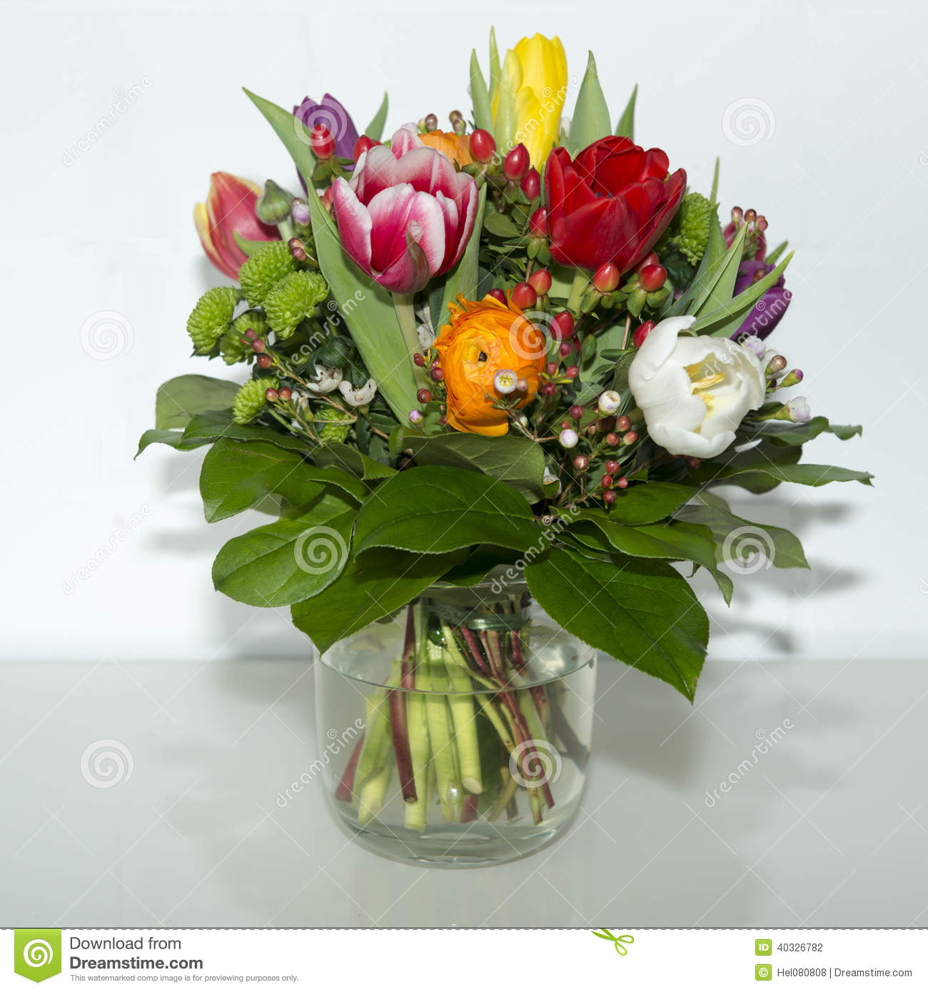 Images of spring flowers in a vase