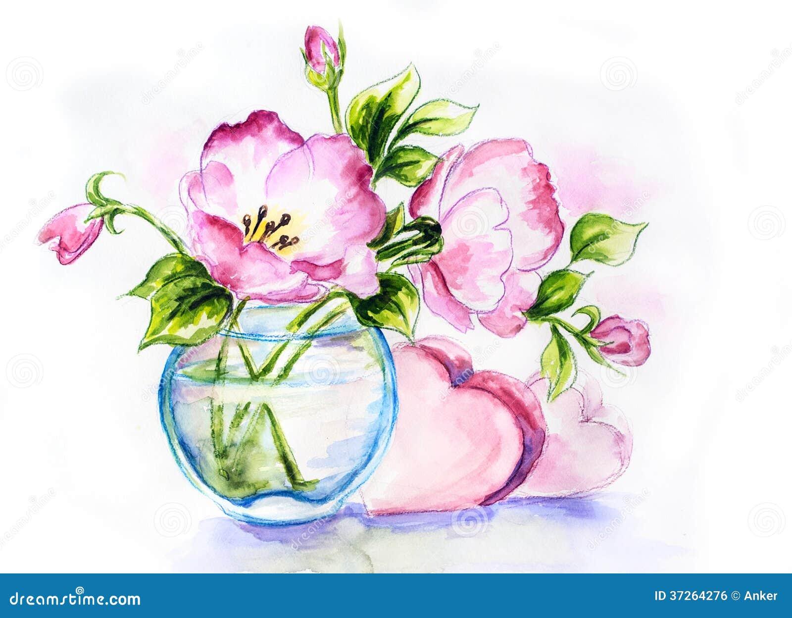 Spring flowers in vase watercolor royalty free stock for Spring flowers watercolor