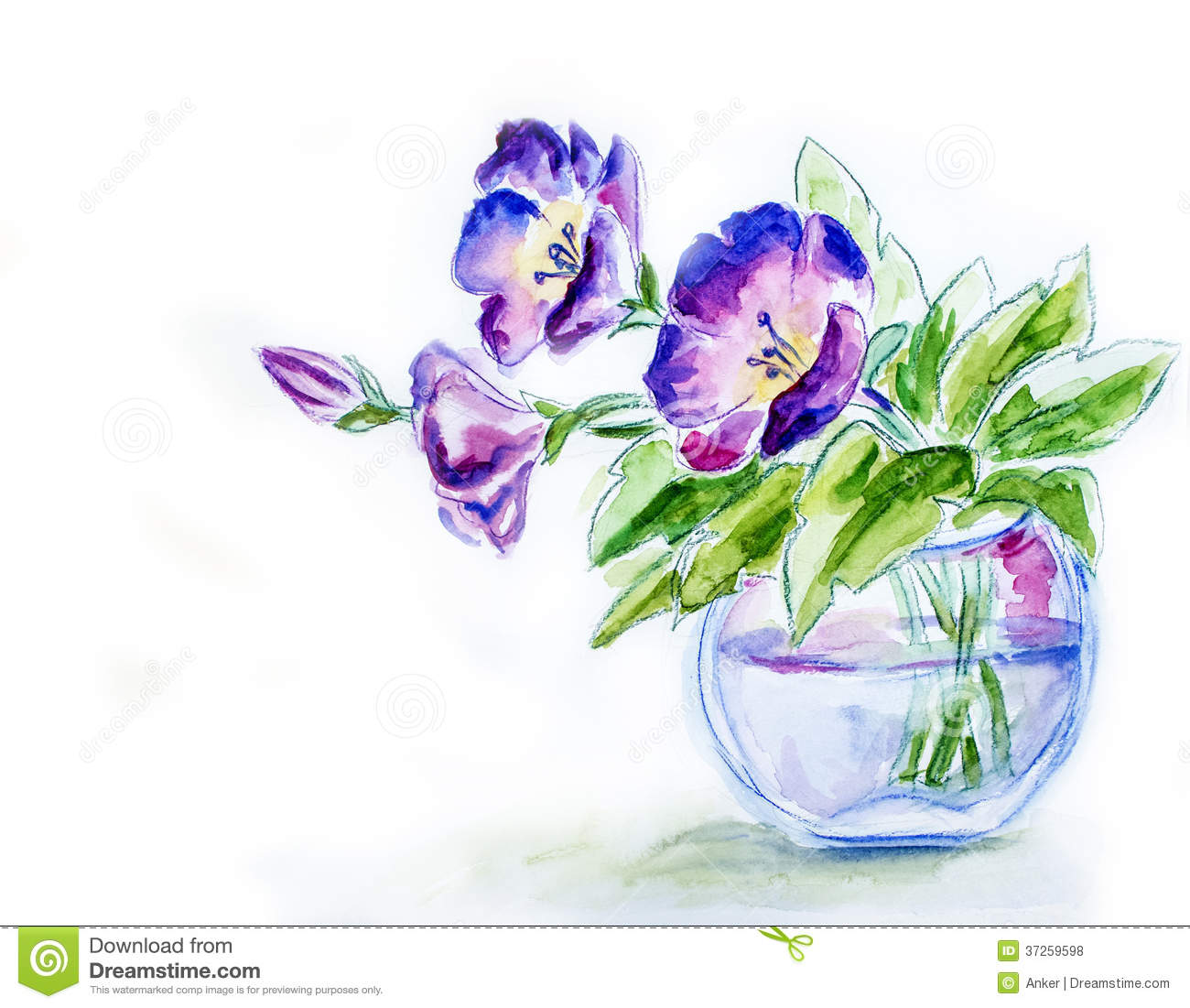 Spring Flowers In Vase Watercolor Stock Illustration Illustration