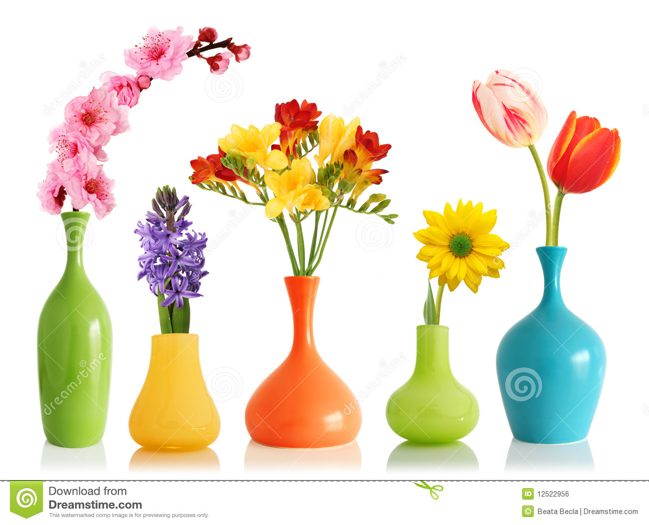 Spring Flowers In Vases Stock Photo Image Of Gerber 12522956