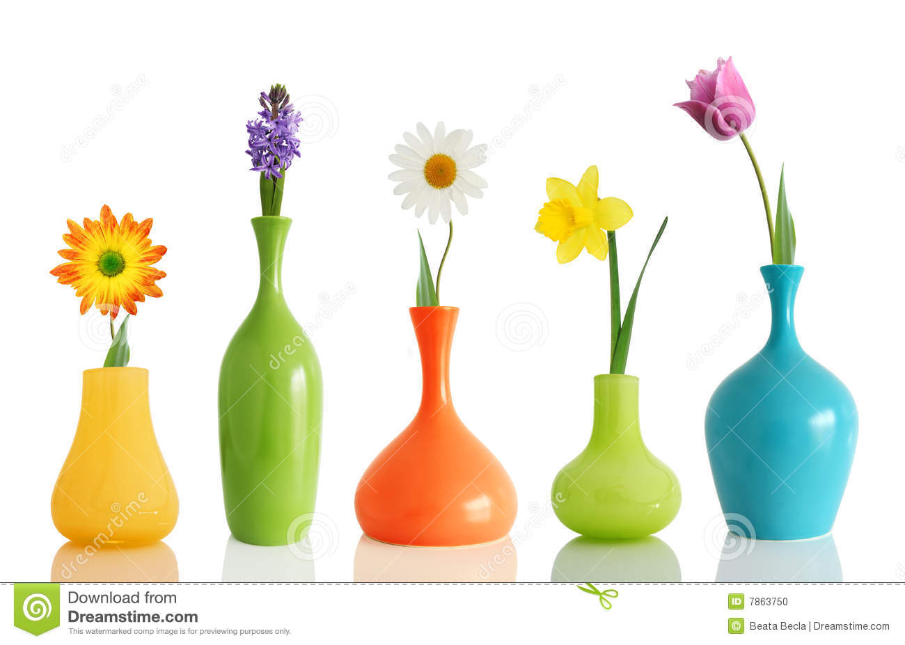 Spring flowers in vases stock photo image of gerber 12522956 spring flowers in vases stock photo mightylinksfo