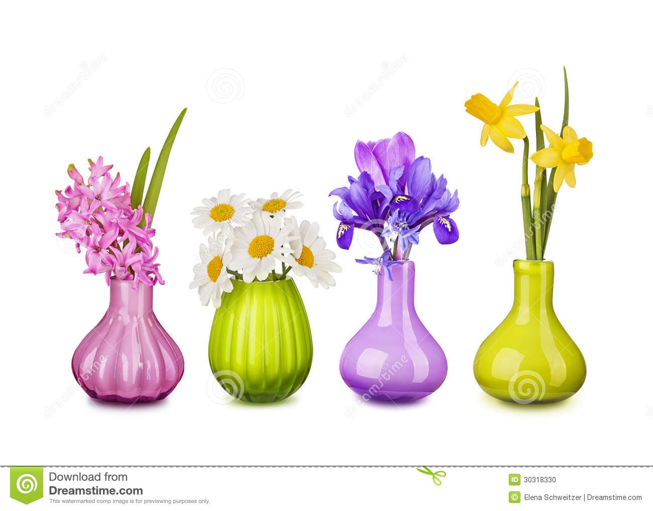 Flower Vase Clipart: Spring Flowers In Vases Stock Photo