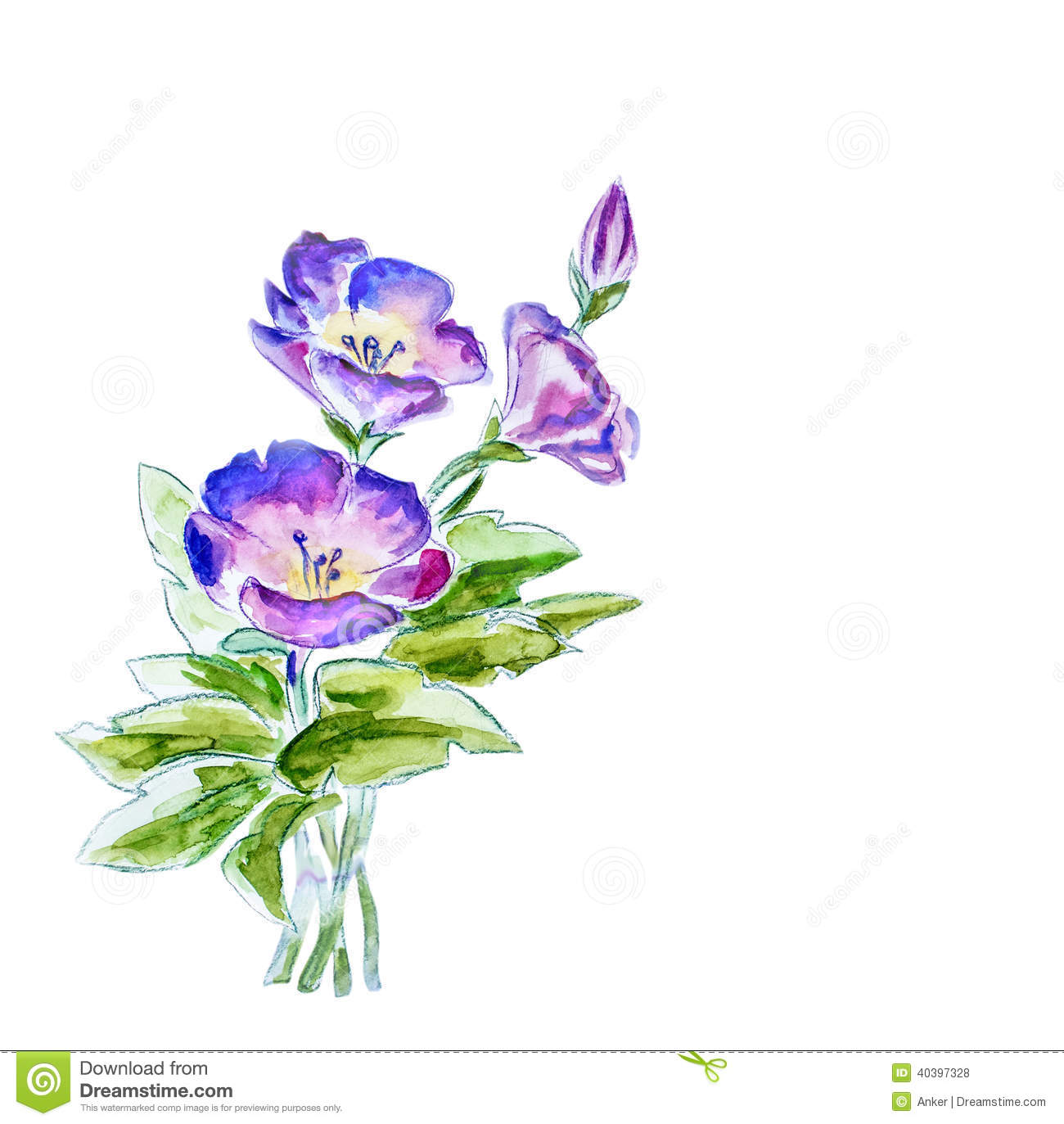 Spring flowers watercolor illustration stock illustration for Spring flowers watercolor