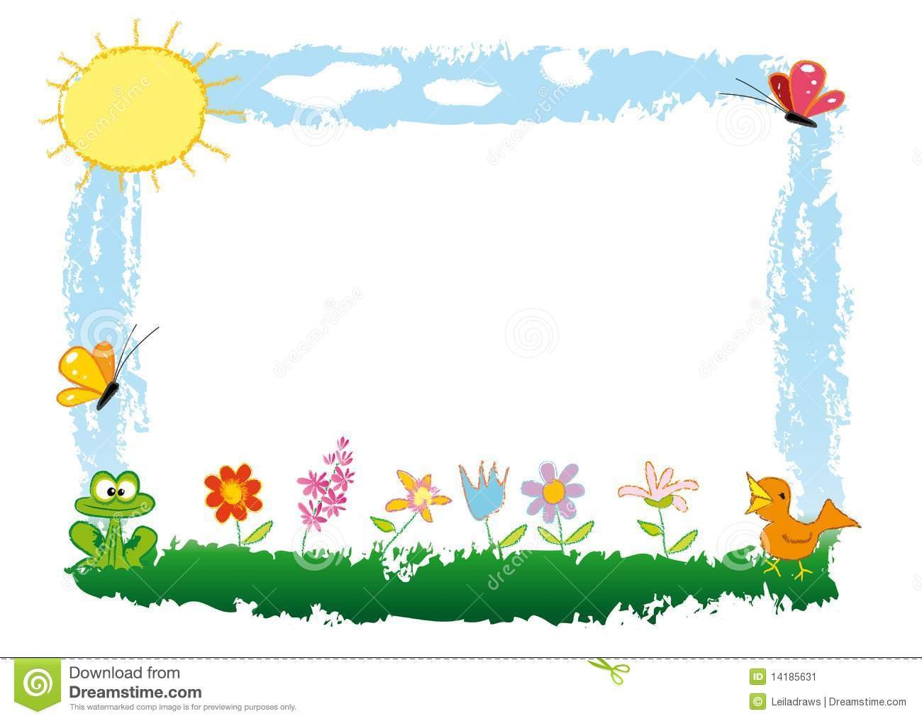... , sun and little nice animals. The space for your text in the middle
