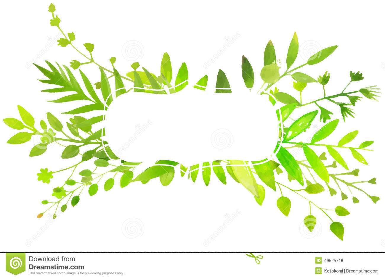 Spring frame with watercolor bright green leaves. Vector nature ... Flower Vine Clipart
