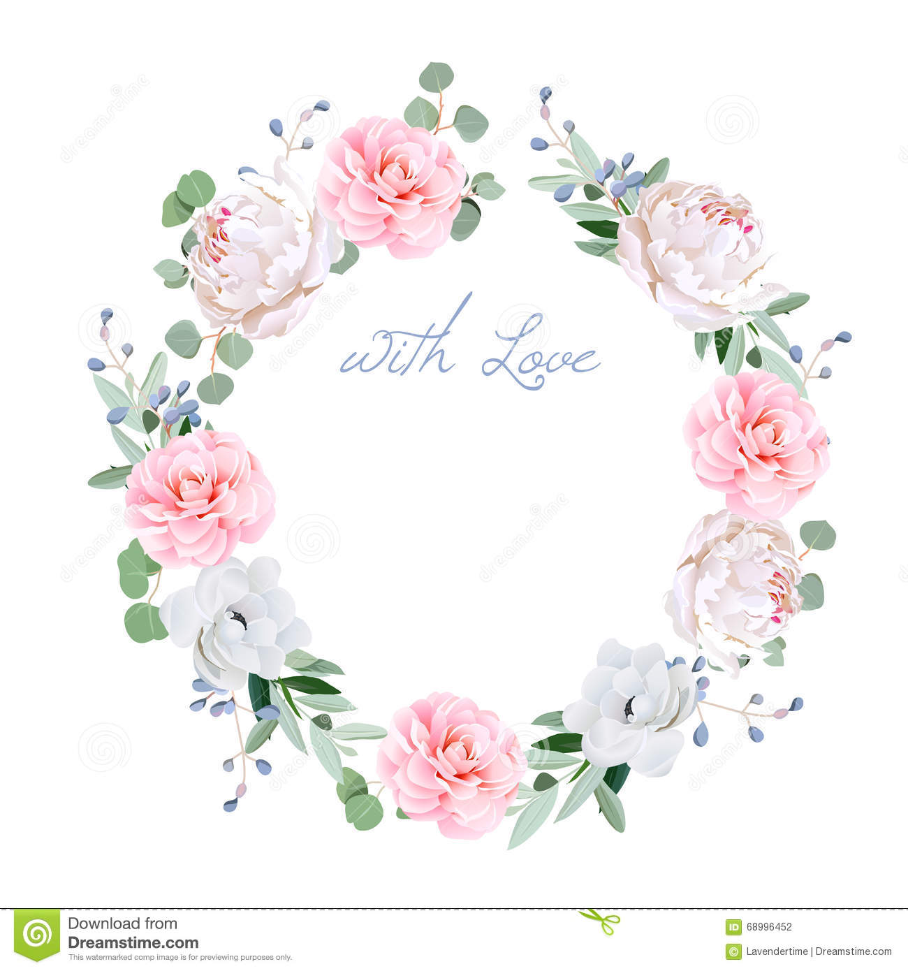 Spring fresh peony, anemone, camellia, brunia flowers and eucaliptis leaves round vector frame