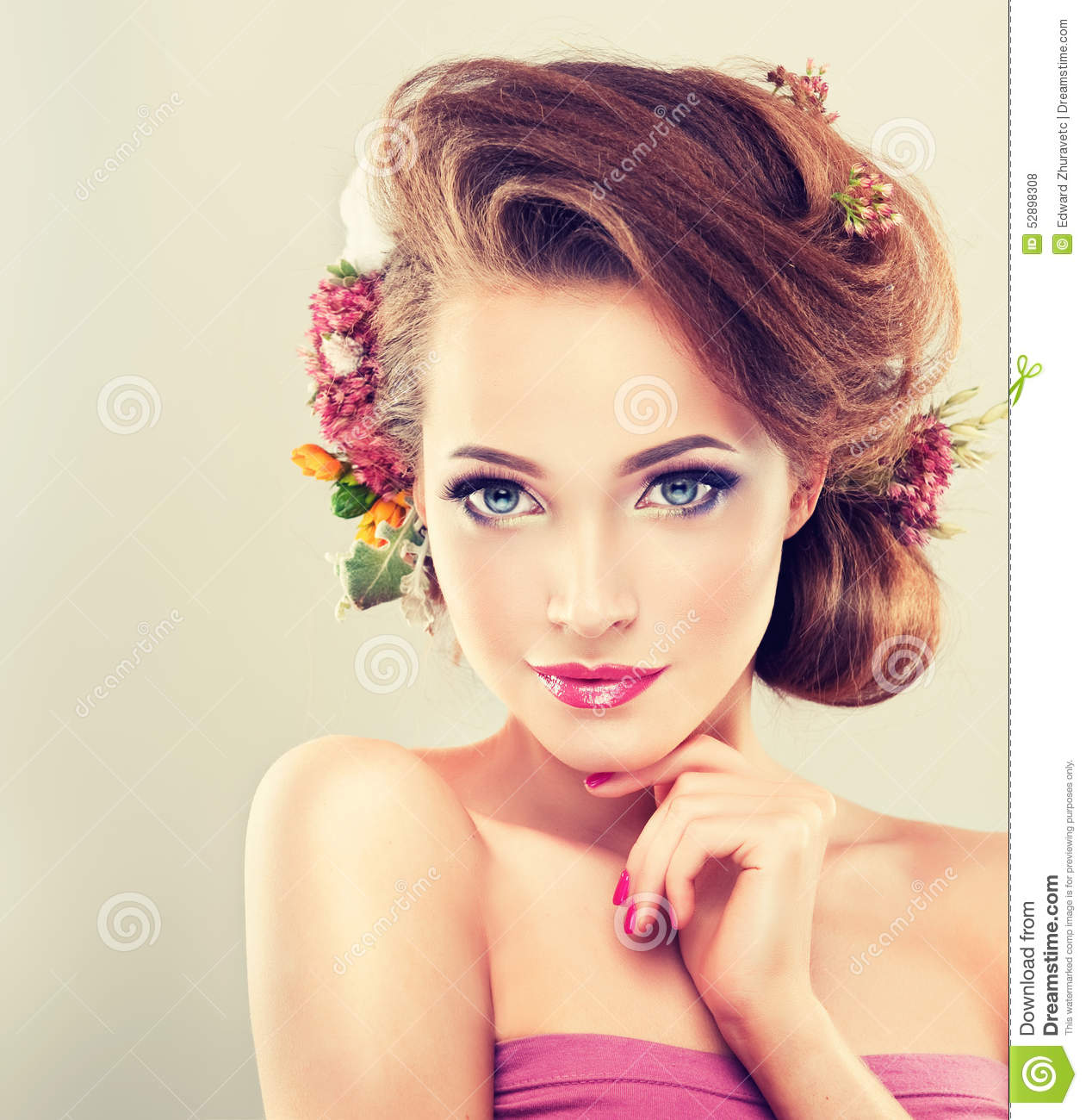 makeup and hair style freshness with delicate pastel flowers stock 5269