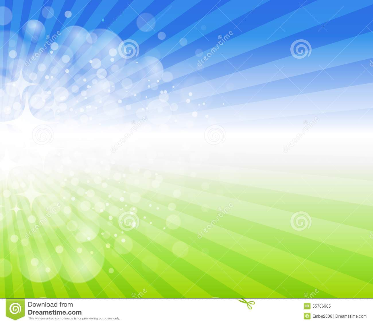 An abstract spring fun background with bright lights and green grass ...