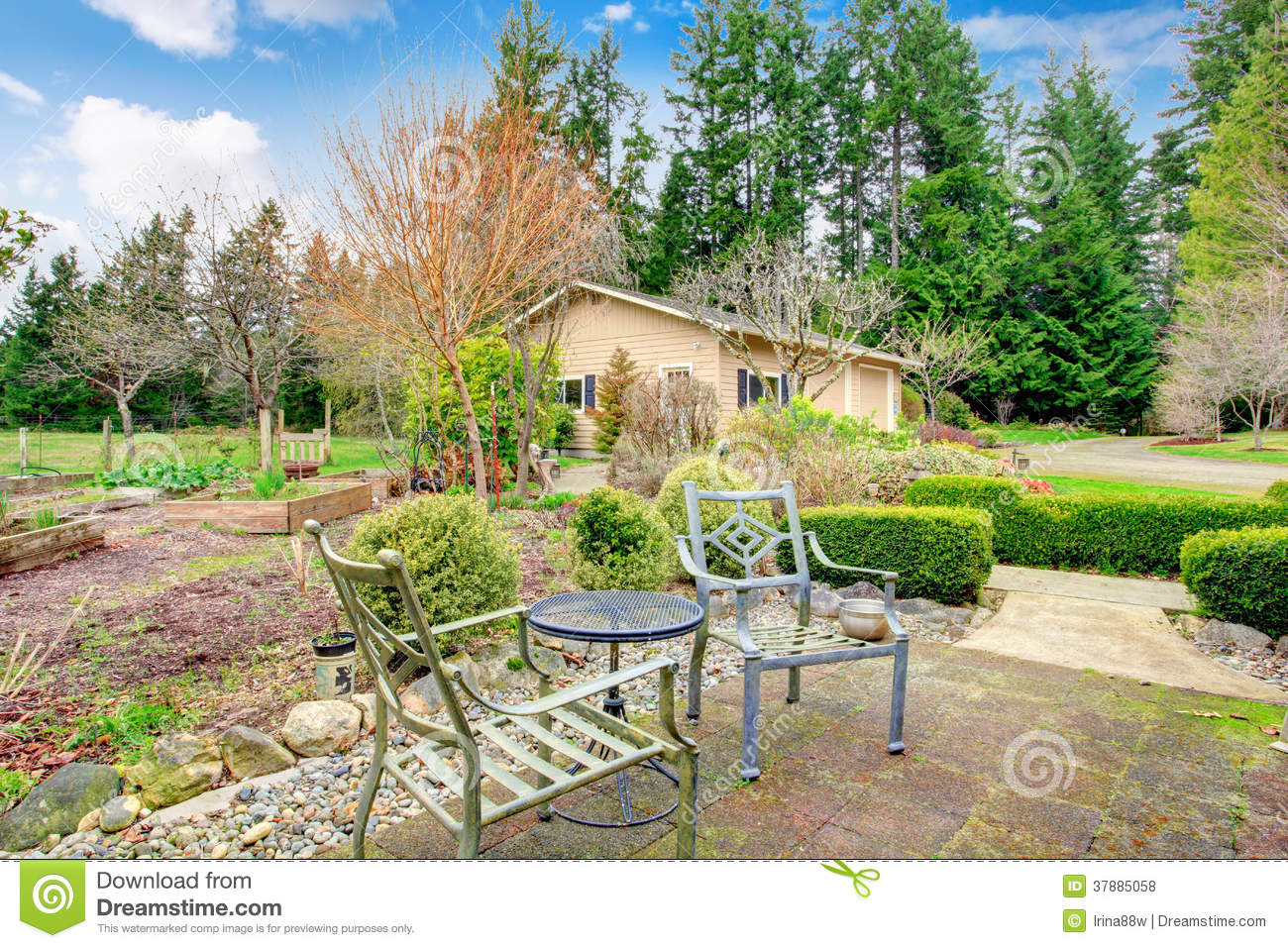 Spring garden with antique chairs and table royalty free stock photos image 37885058 - Countryside dream gardens ...