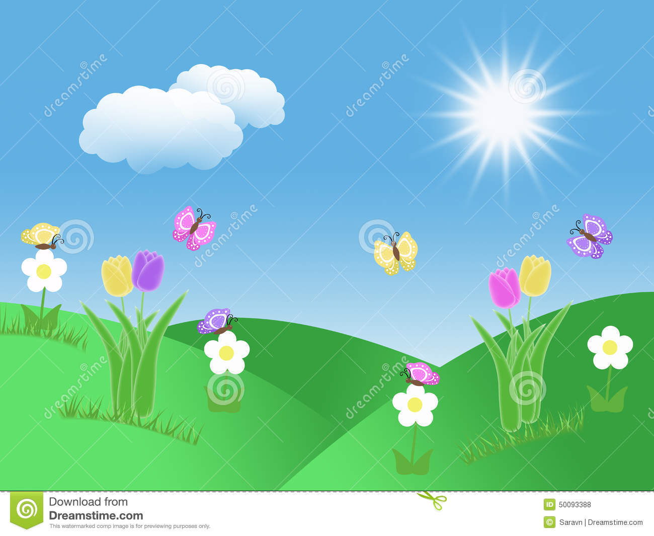 Spring Garden Background With Tulips Butterflies Blue Sky ...