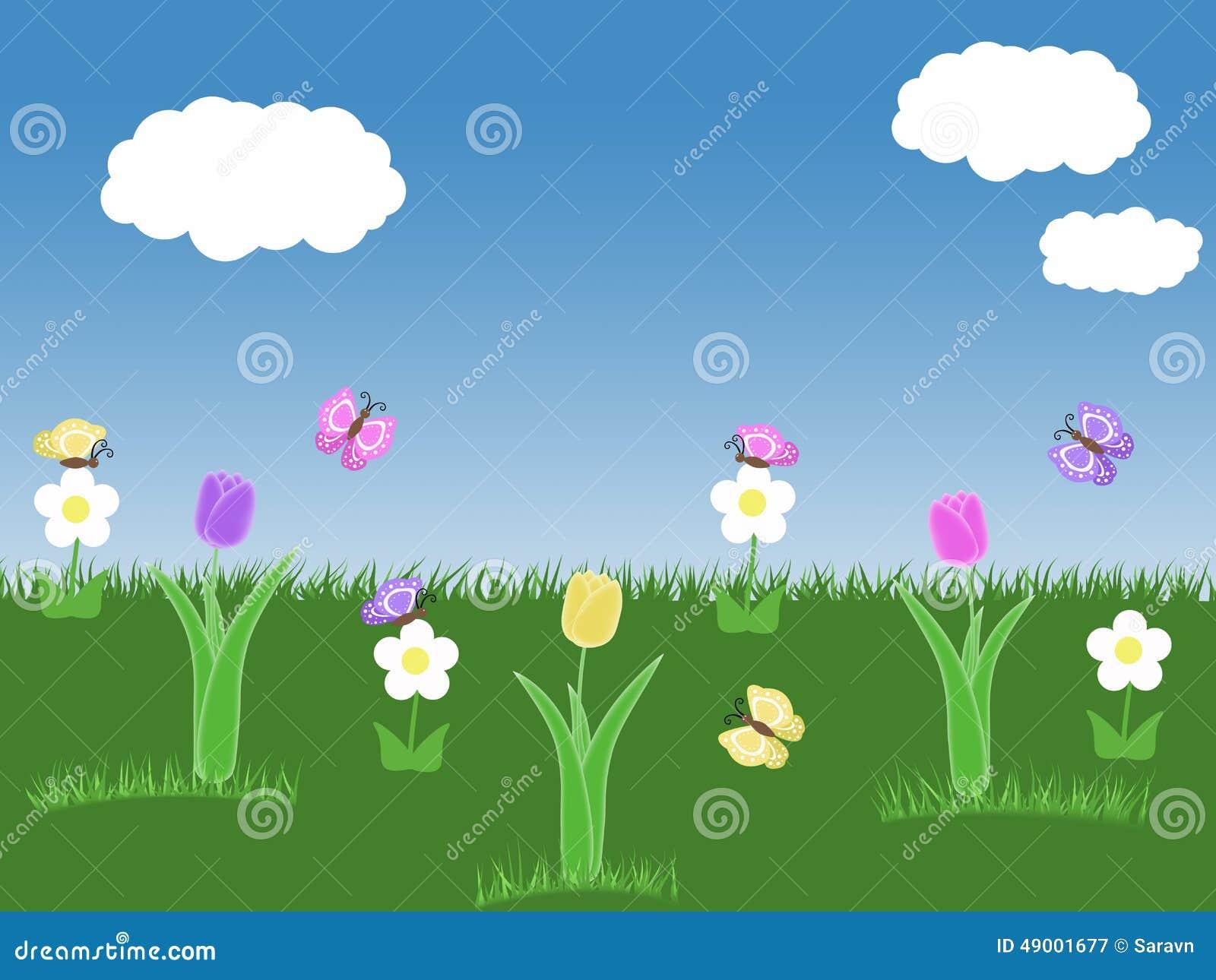 Spring garden background with tulips butterflies blue sky - Arbustos con flores ...