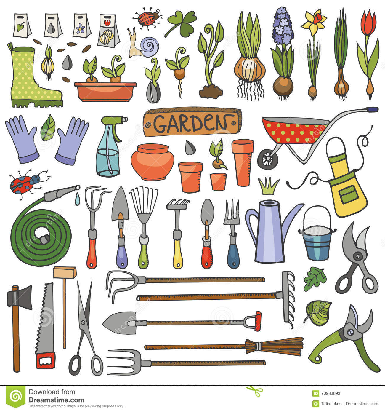 Garden tool set stock image 5393917 for Gardening tools cartoon