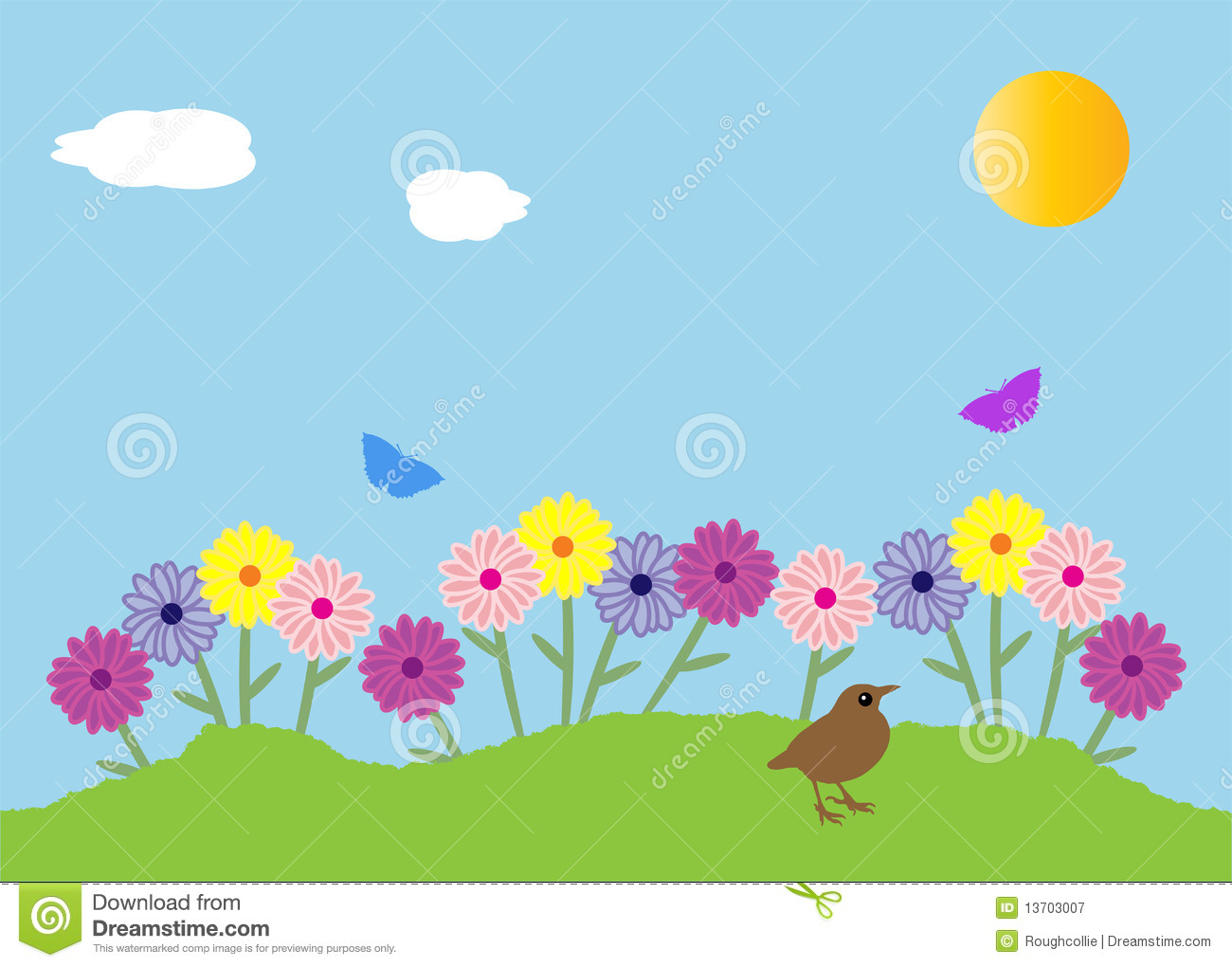 Spring Garden Flowers Stock Vector Illustration Of Green 13703007