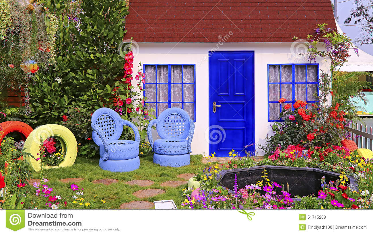 Spring Garden With Wooden House Stock Photo Image 51715208