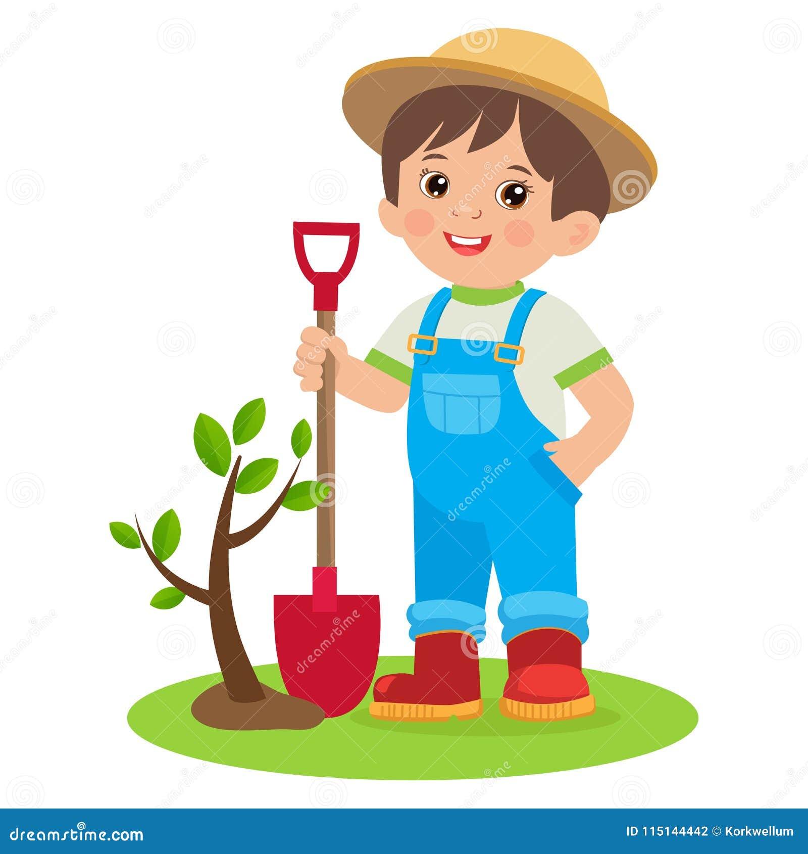 Garden Cute Cartoon: Spring Gardening. Growing Young Gardener. Cute Cartoon Boy