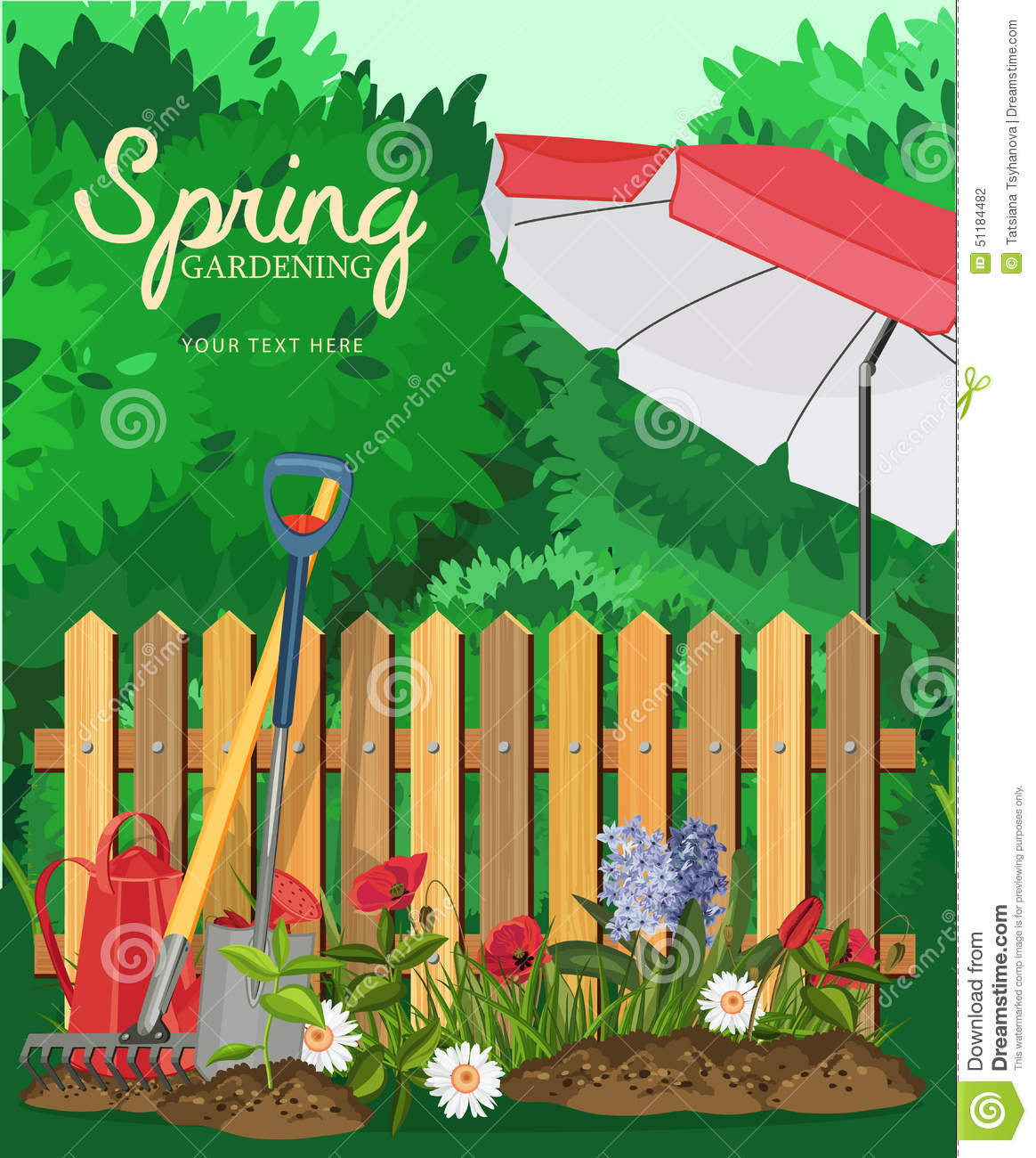 Spring Gardening. Poster With A Fence And Beach Umbrella