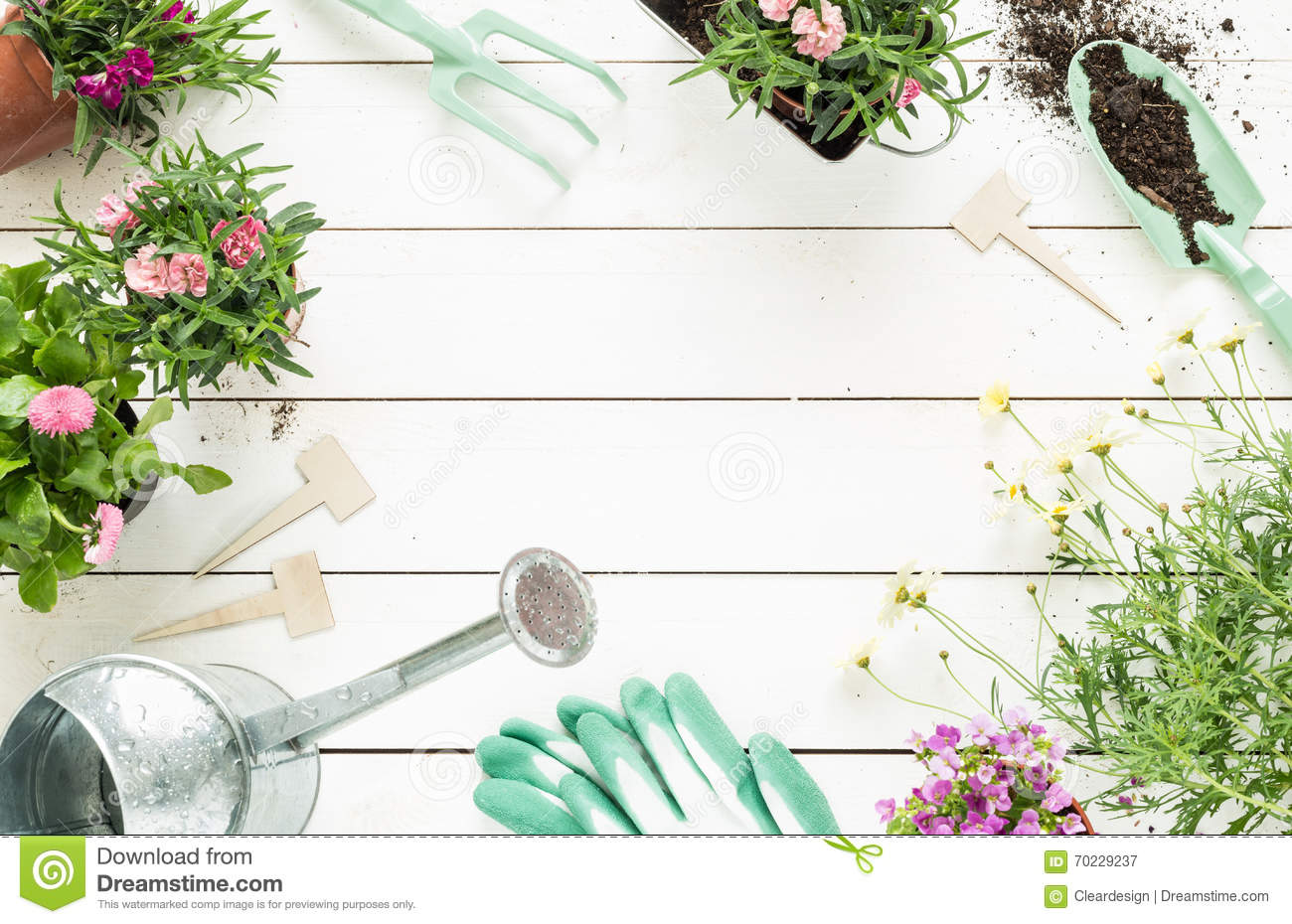 Spring gardening tools and flowers in pots on white wood for Free garden border designs