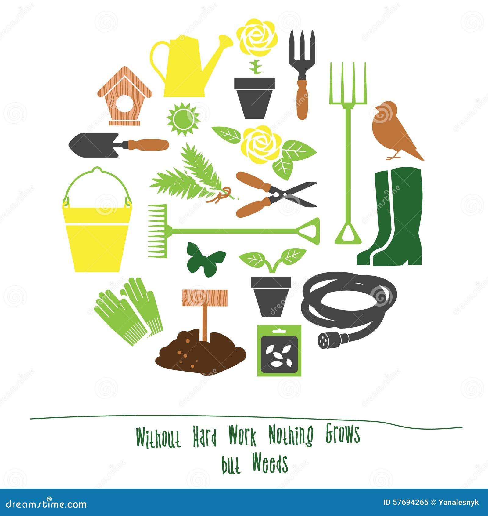 Spring gardening tools set background flat vector for Gardening tools vector
