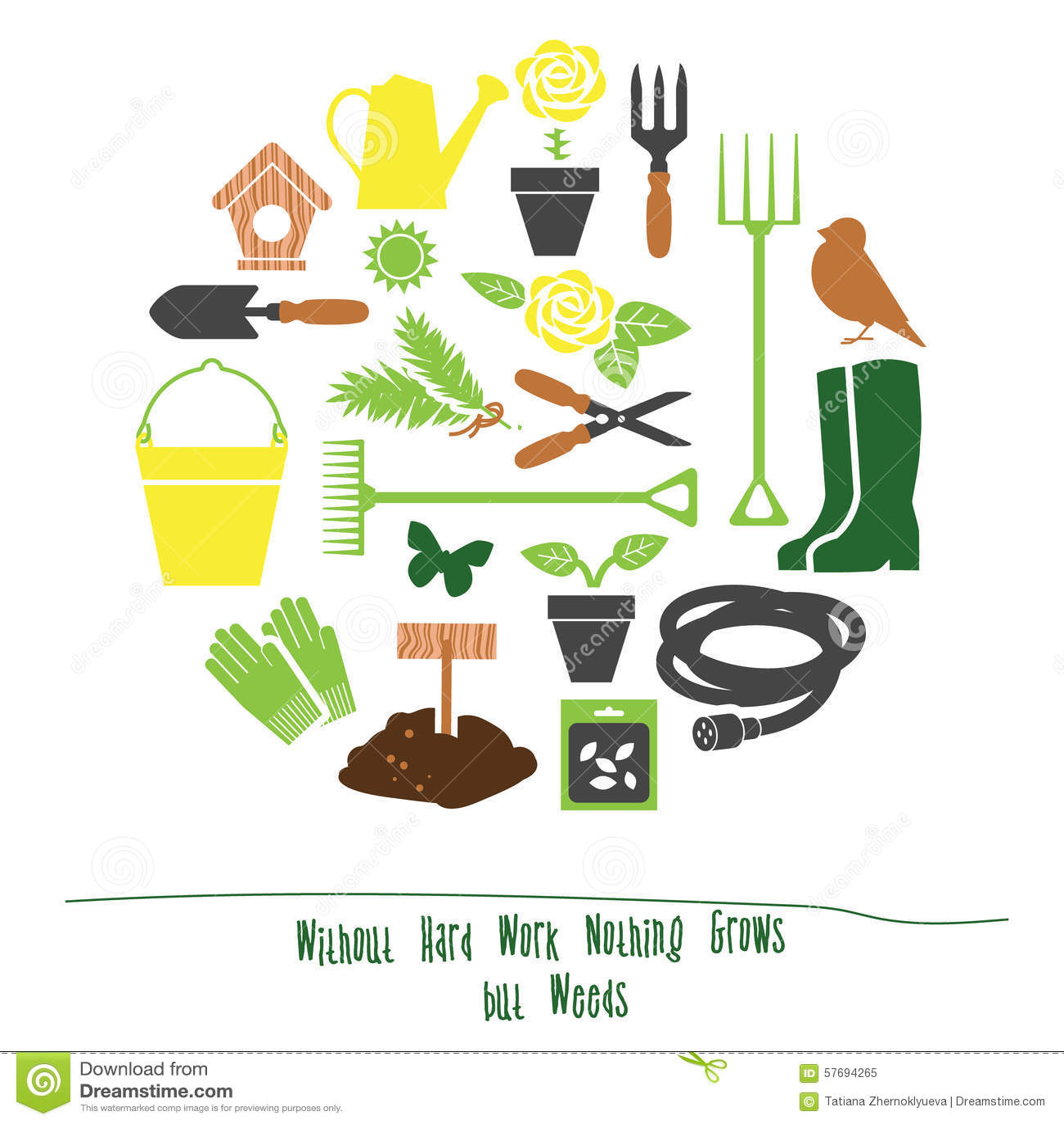 Spring Gardening Tools Set Background, Flat Vector Illustration Royalty  Free Stock Photo