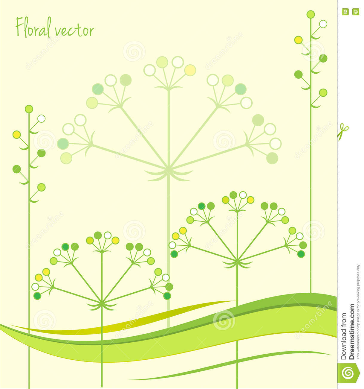 Spring Green Leaves And Flowers Background With Plants: Spring Green Leaves. Floral Background. Vector