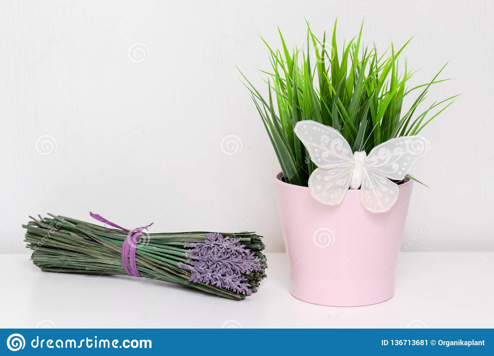 Spring green plant in pink pot with white decorative butterfly and a bunch of lavender flowers on white background with copy space