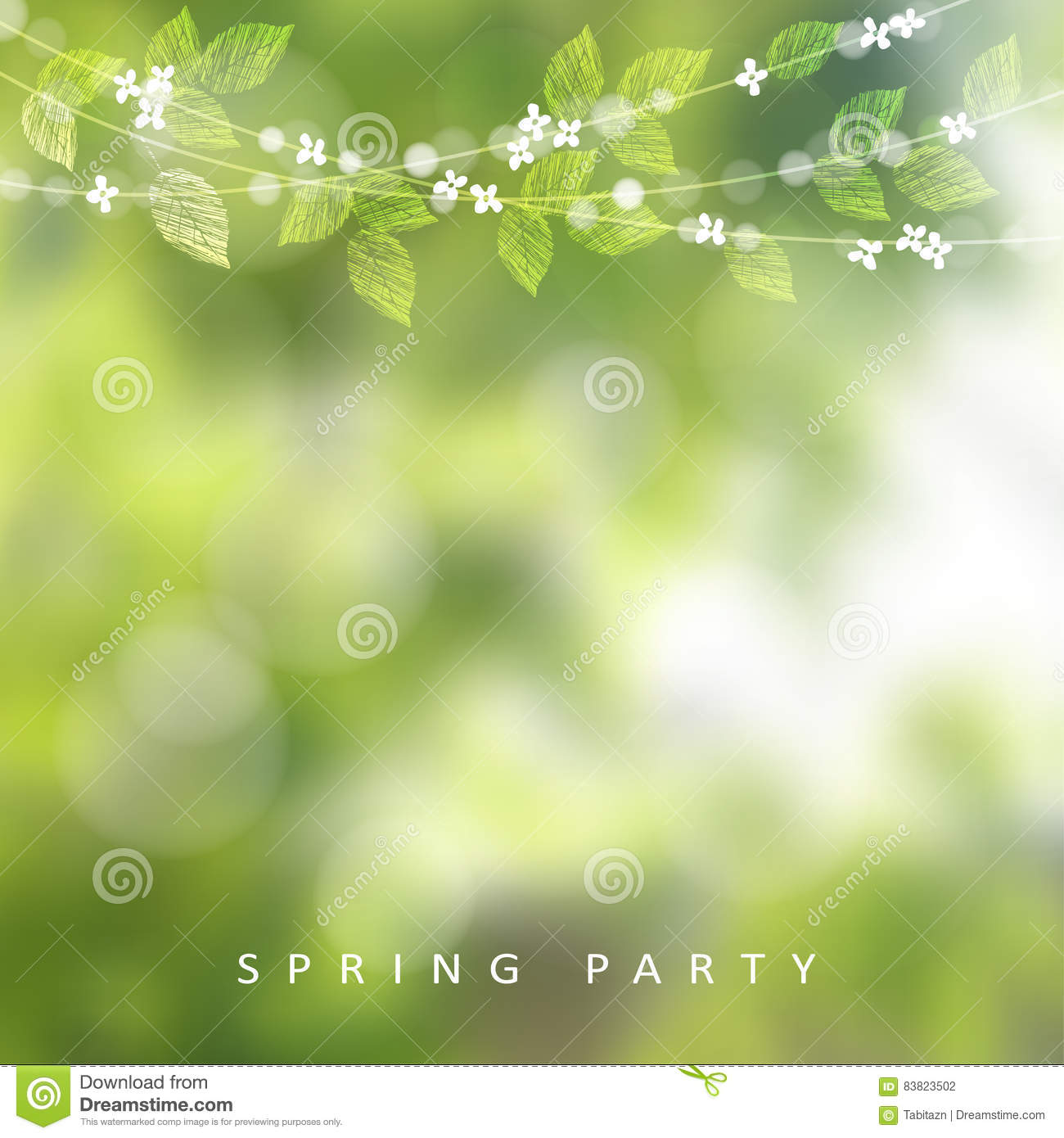 Spring Greeting Card Invitation String Of Lights Leaves And