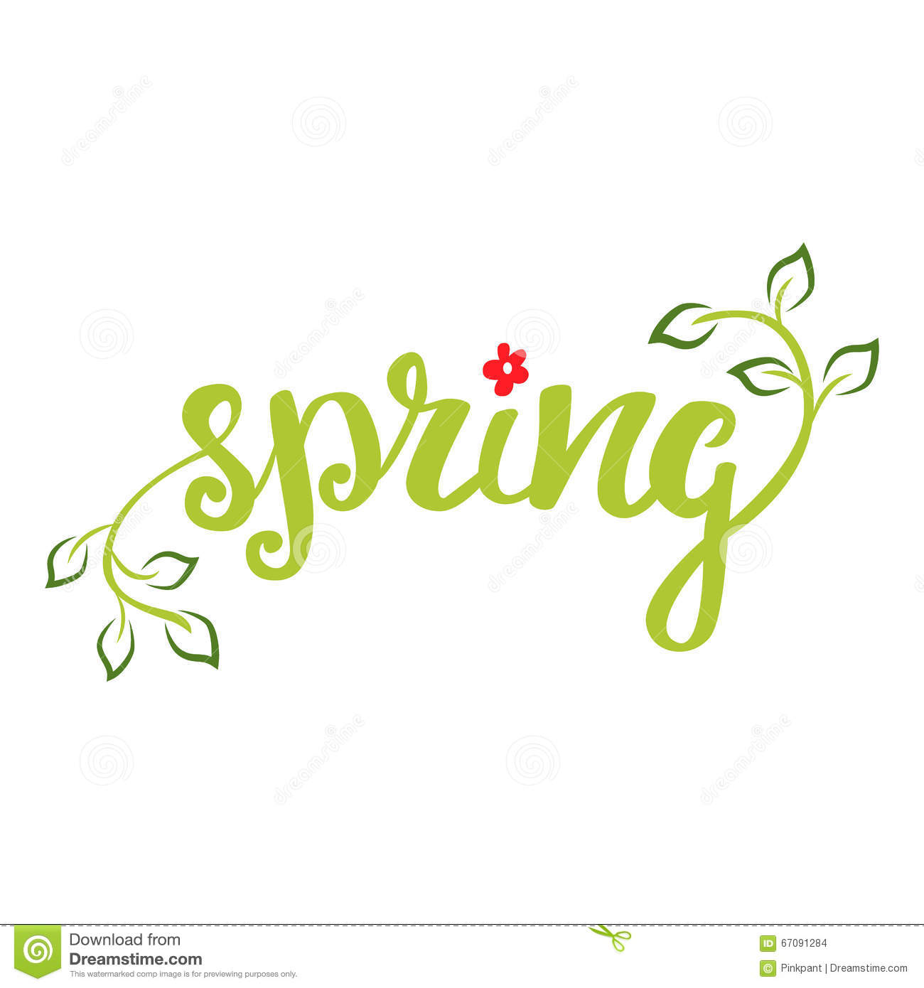 ... : Spring. Hand lettering, calligraphy inscription with spring leaves