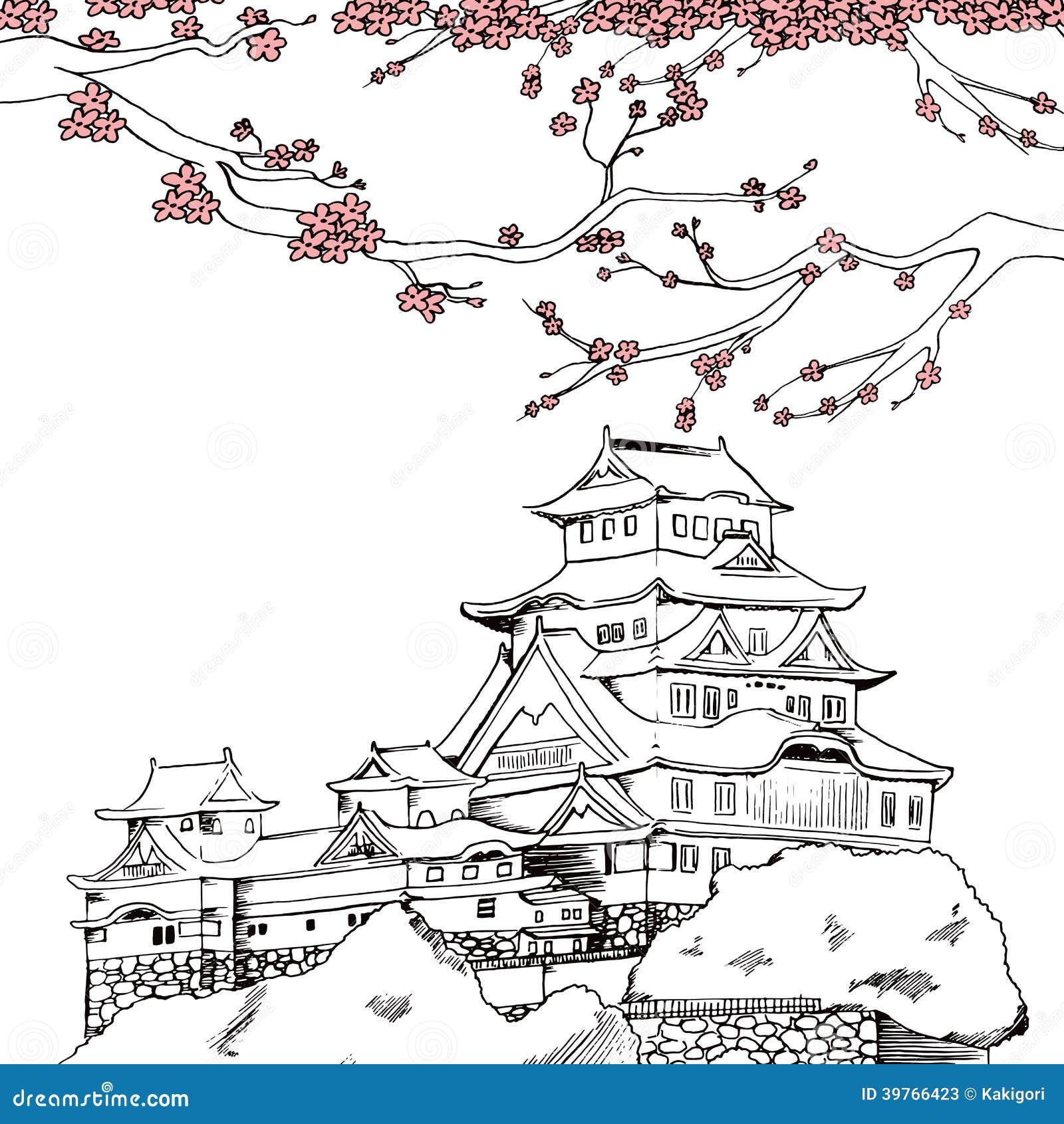 Line Art Illustrator : Spring himeji castle stock vector image of black