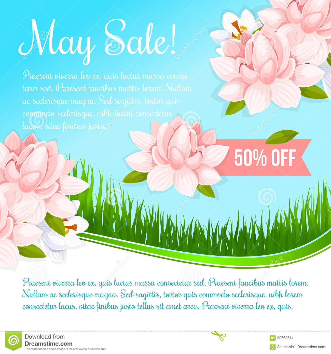 Spring Holiday Flowers Discount Sale Vector Poster Stock Vector