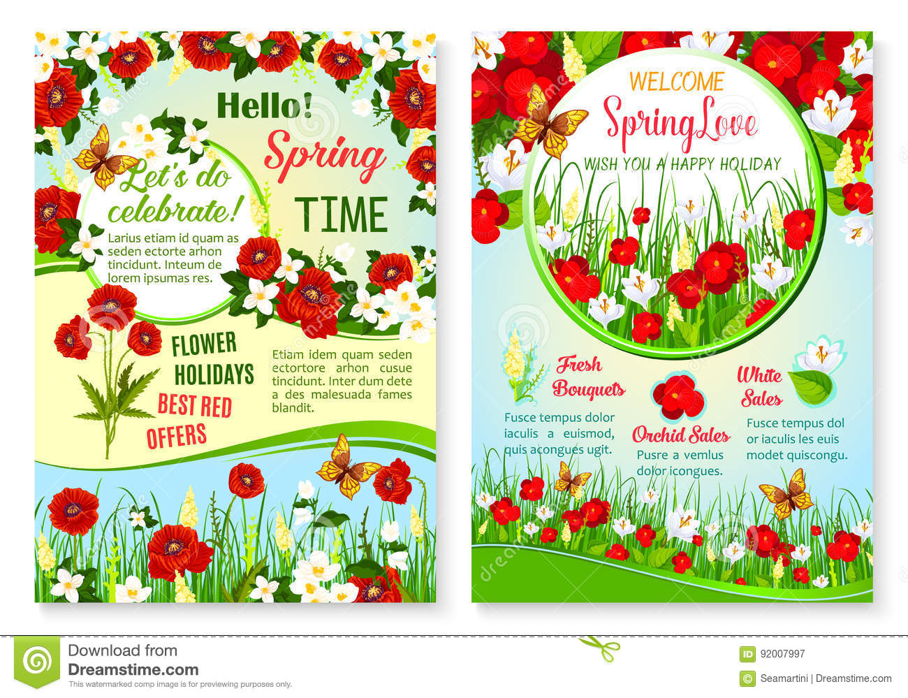 Spring Holiday Sale Vector Posters Set Of Flowers Stock Vector