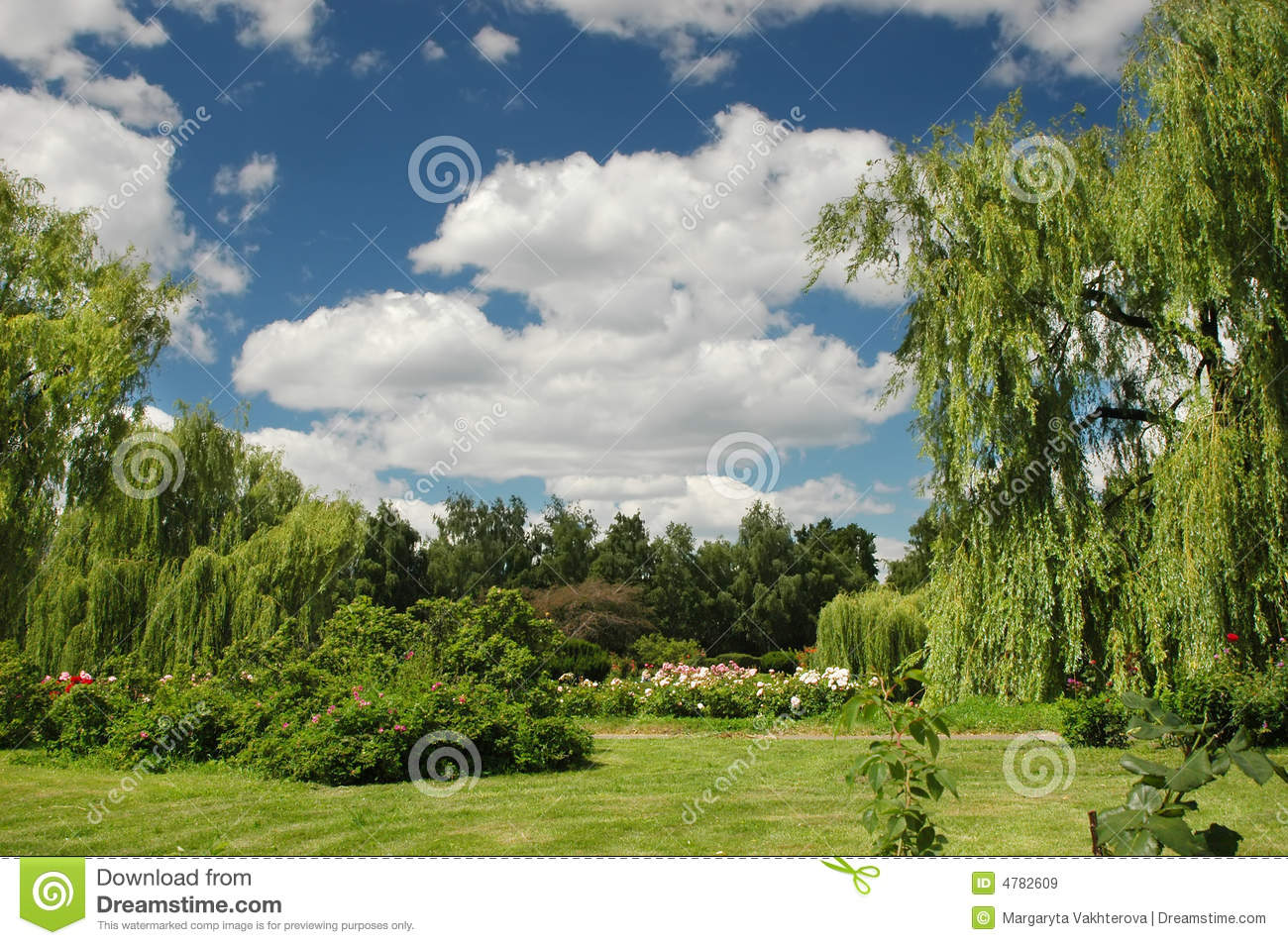 Spring Landscape In A Botany Garden With Sky Royalty Free