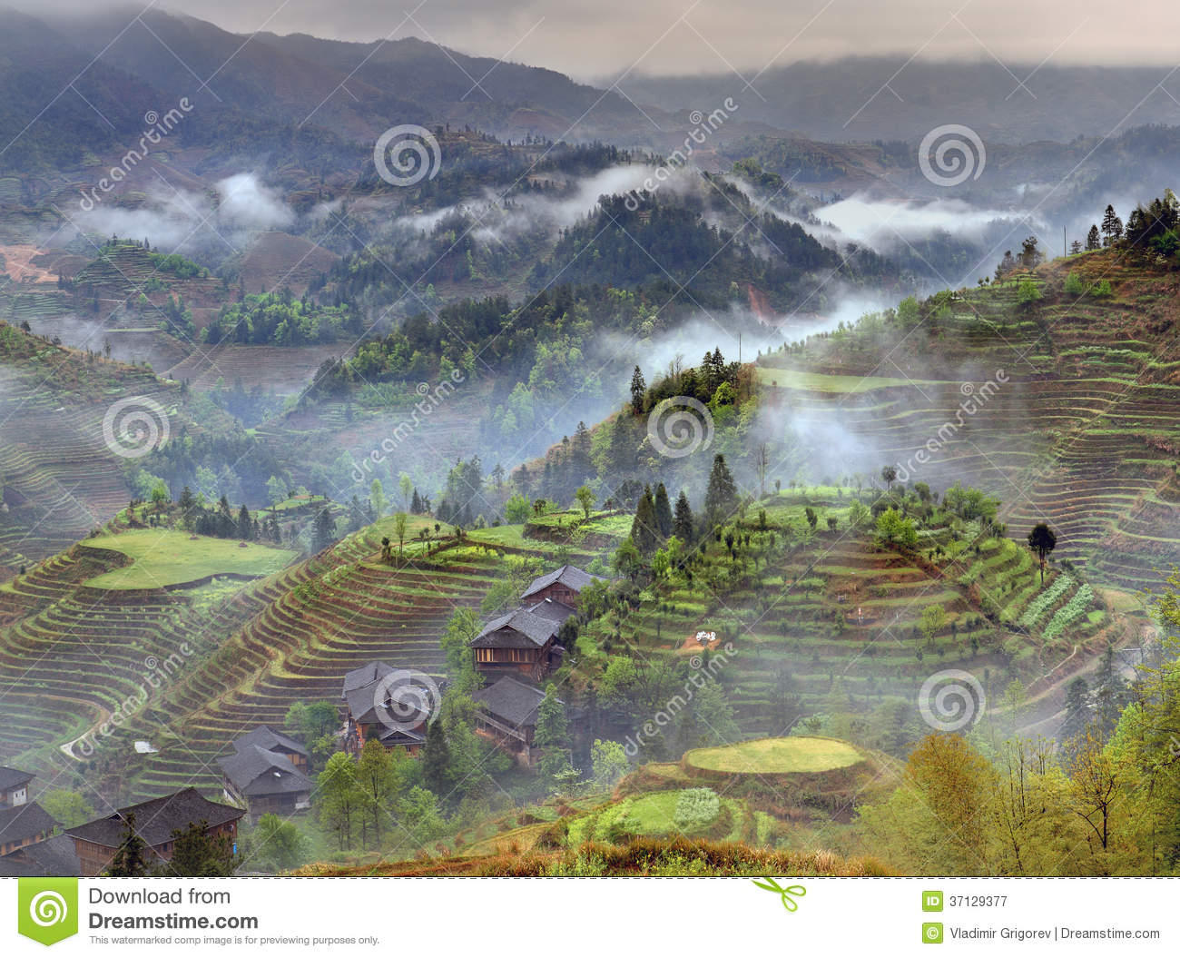 Spring landscape with village and rice terraces mountain for Nearby landscapers