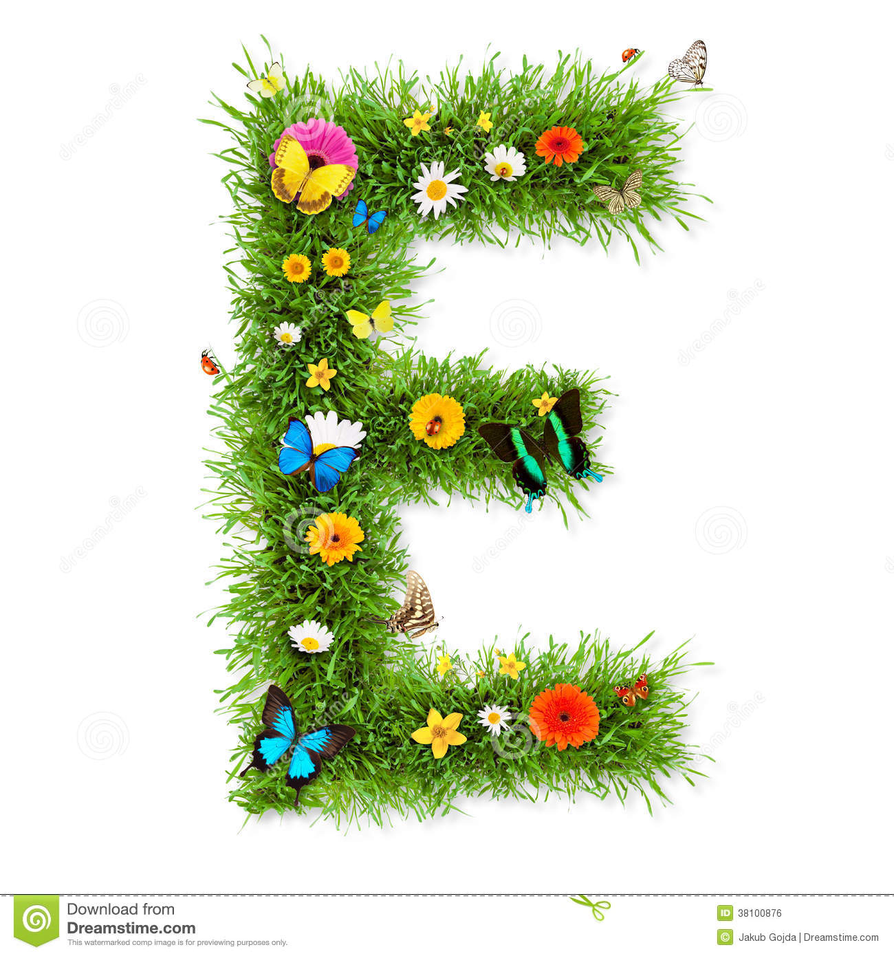 Fresh grass spring letter E with blooming flowers and butterflies ...