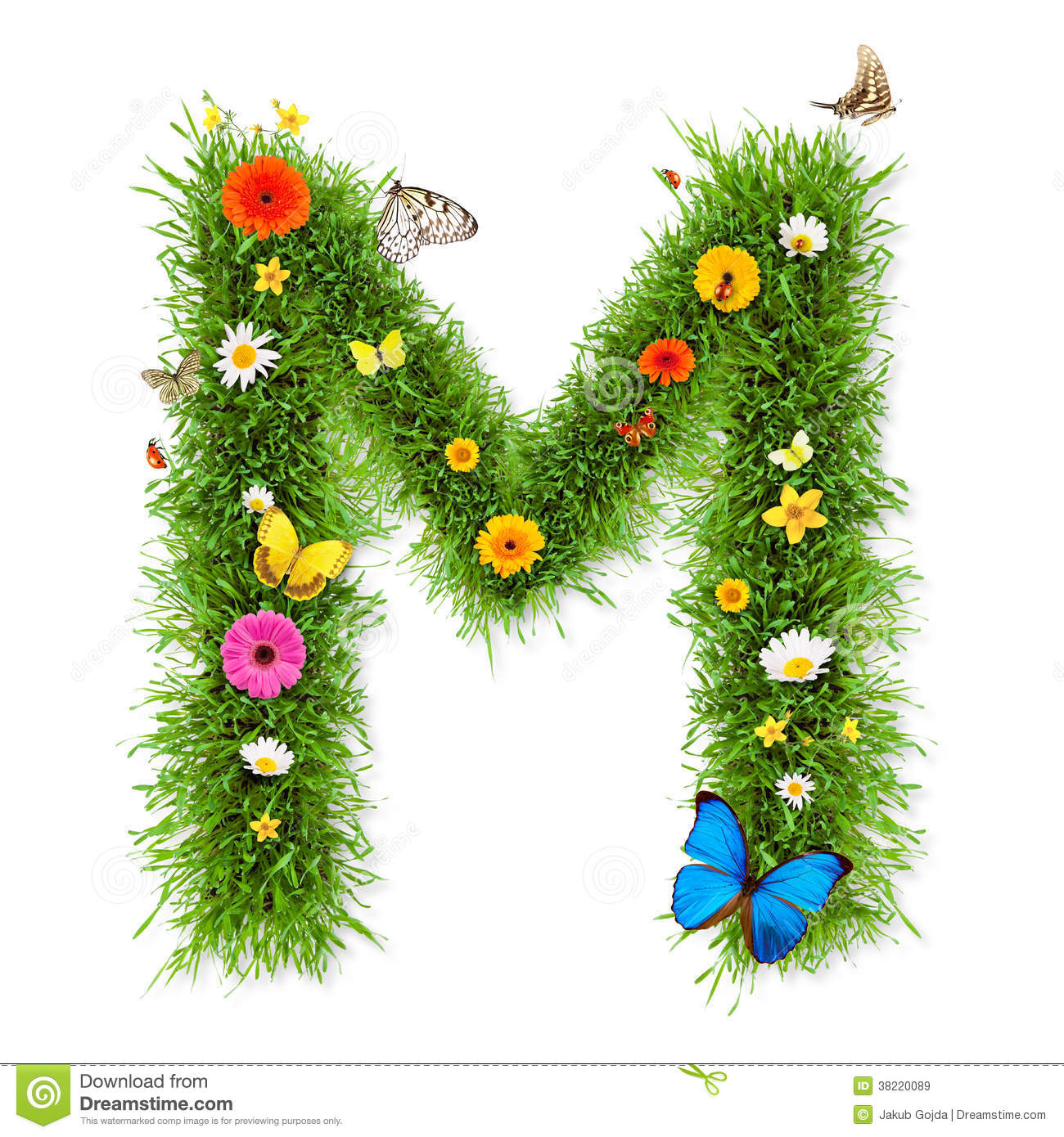 Fresh grass spring letter M with blooming flowers and butterflies ...