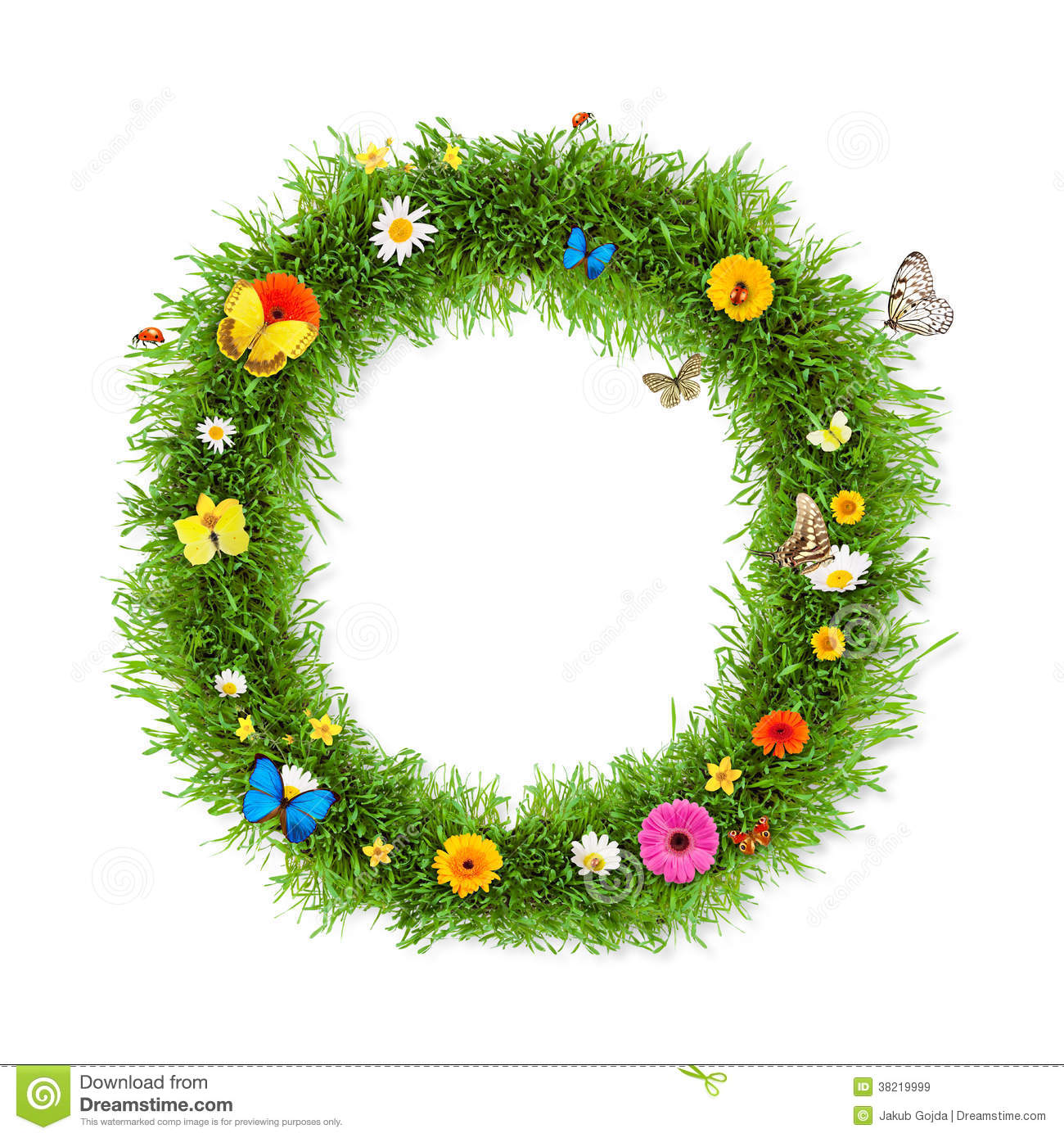 Fresh grass spring letter O with blooming flowers and butterflies ...