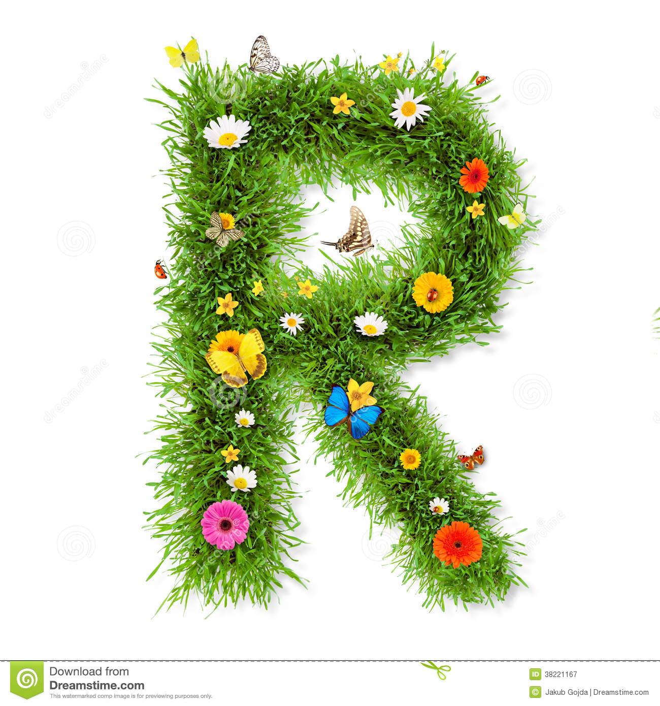 Fresh grass spring letter R with blooming flowers and butterflies ...