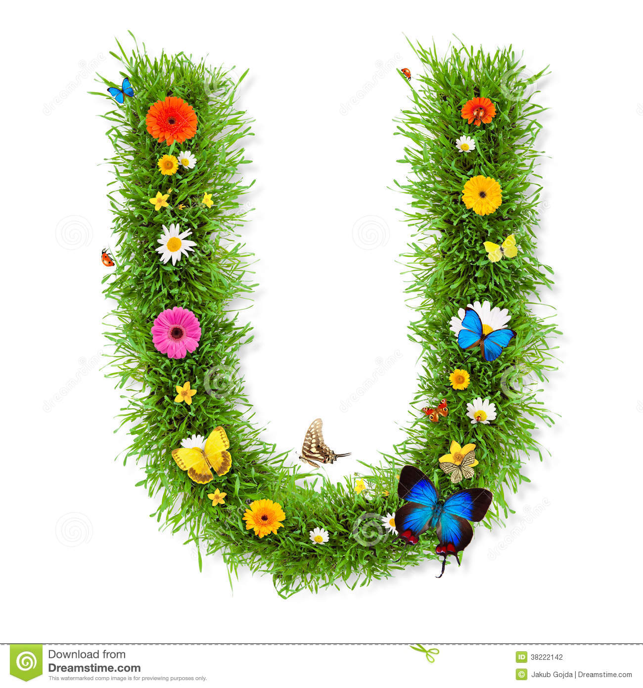 Fresh grass spring letter U with blooming flowers and butterflies ...