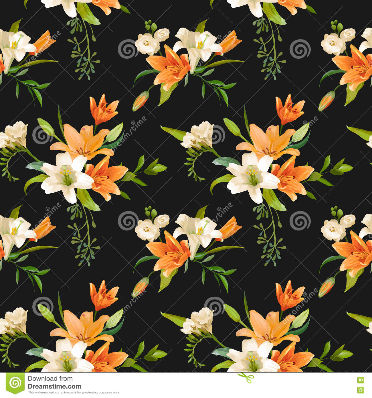 Spring lily flowers background seamless floral pattern stock download spring lily flowers background seamless floral pattern stock vector illustration of vintage izmirmasajfo