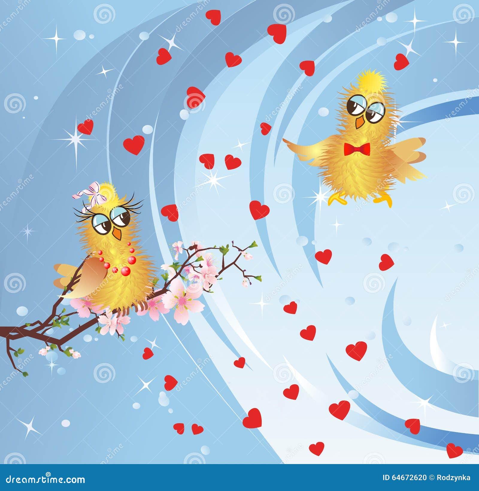 Spring In Love Birds Stock Illustration Illustration Of Beautiful
