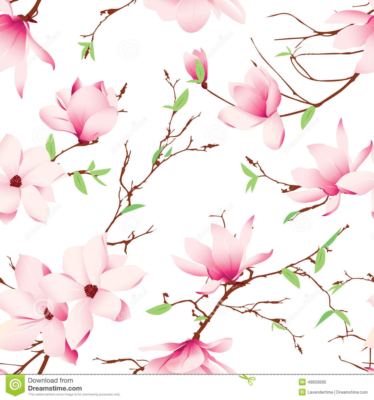 Spring magnolia flowers seamless vector pattern