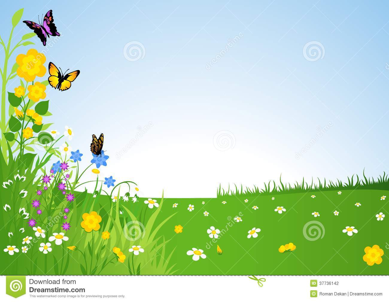 Spring Meadow - Cartoon Background Illustration, Vector.