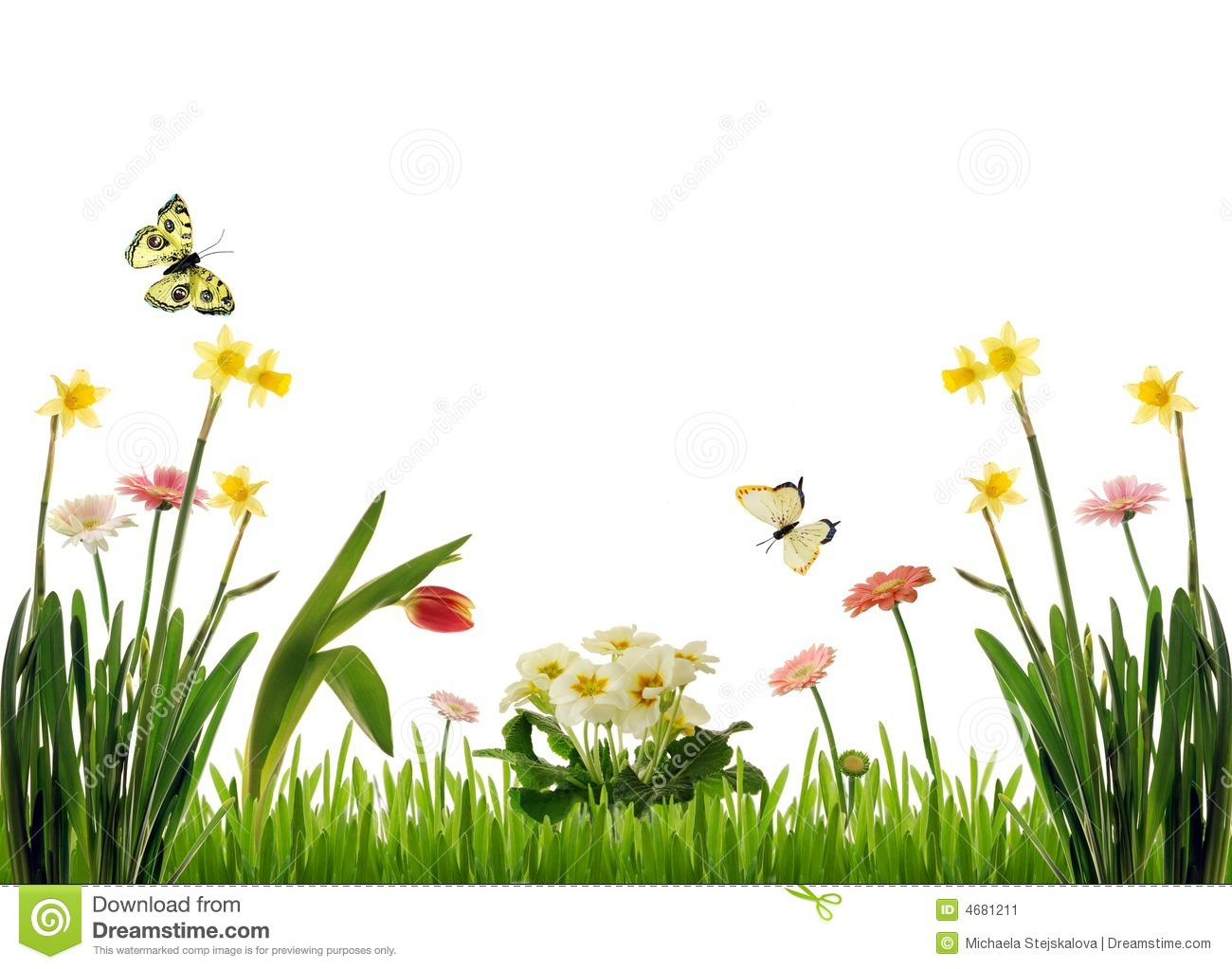 Spring flowers and grass with flying butterflies, computer generated ...