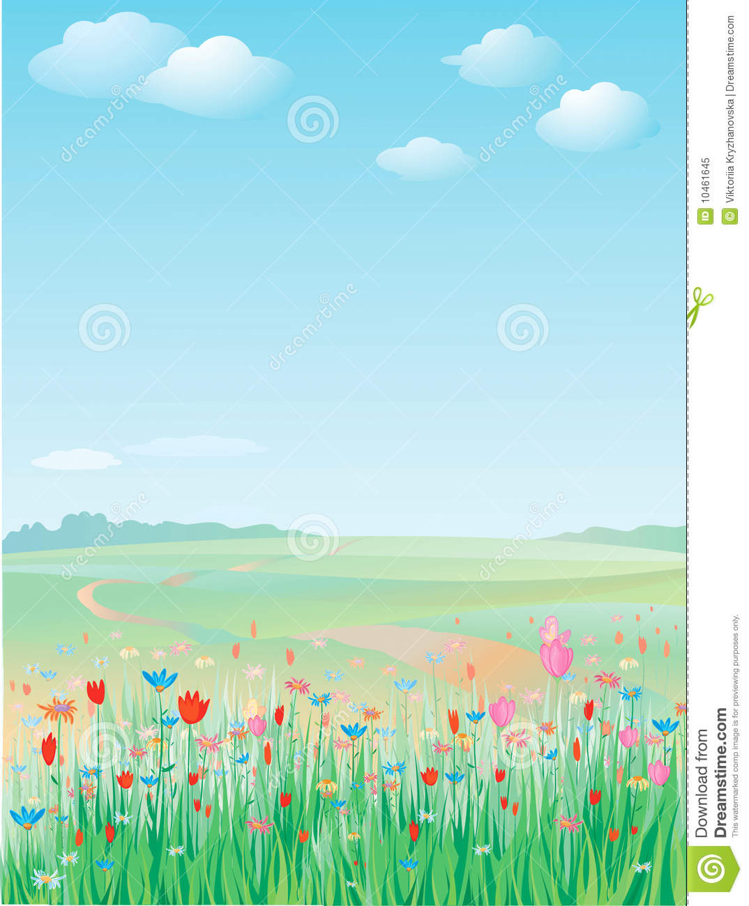 Spring Meadow Vector Royalty Free Stock Photo Image